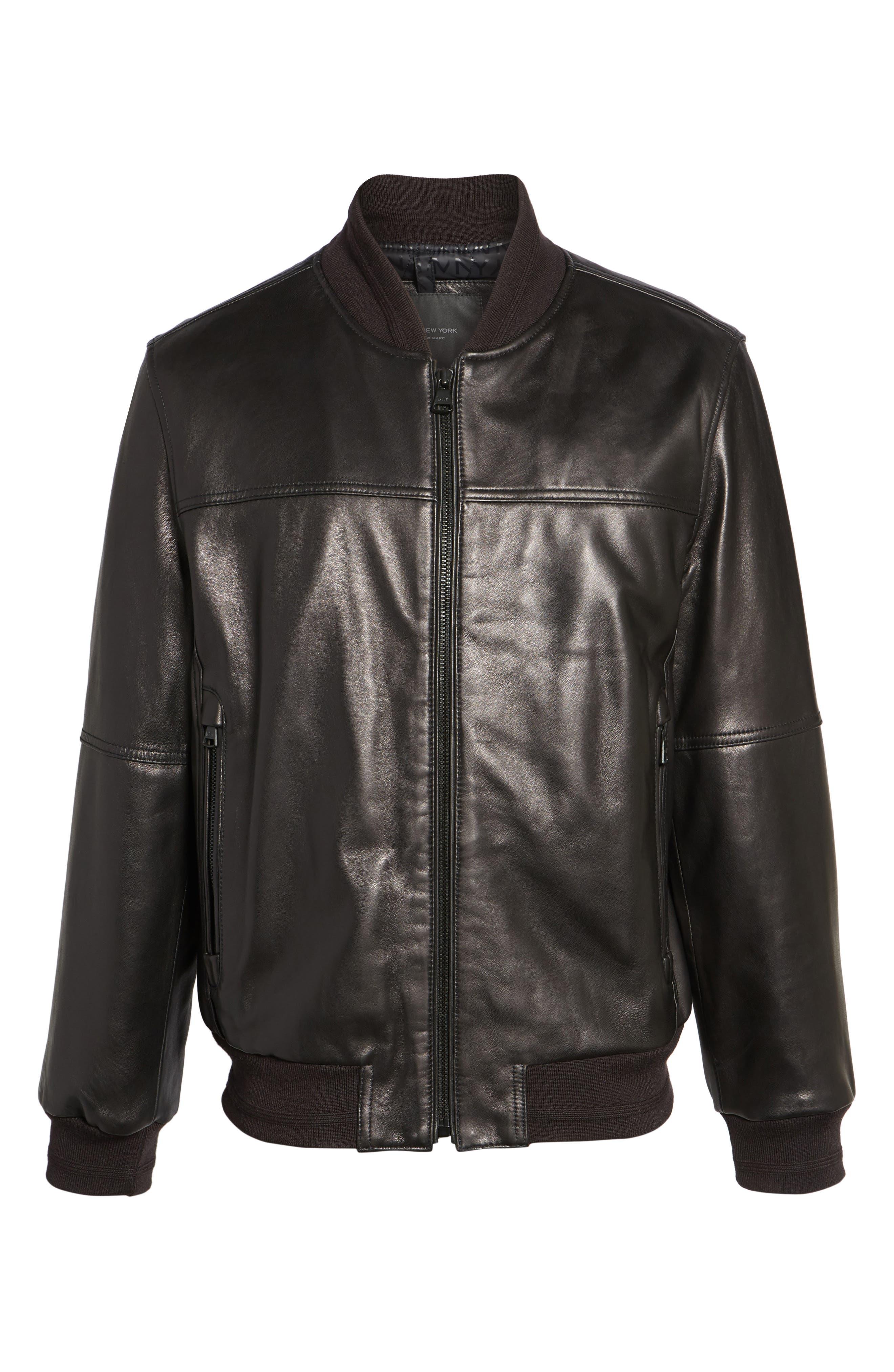 MARC NEW YORK, Summit Leather Jacket, Alternate thumbnail 5, color, BLACK