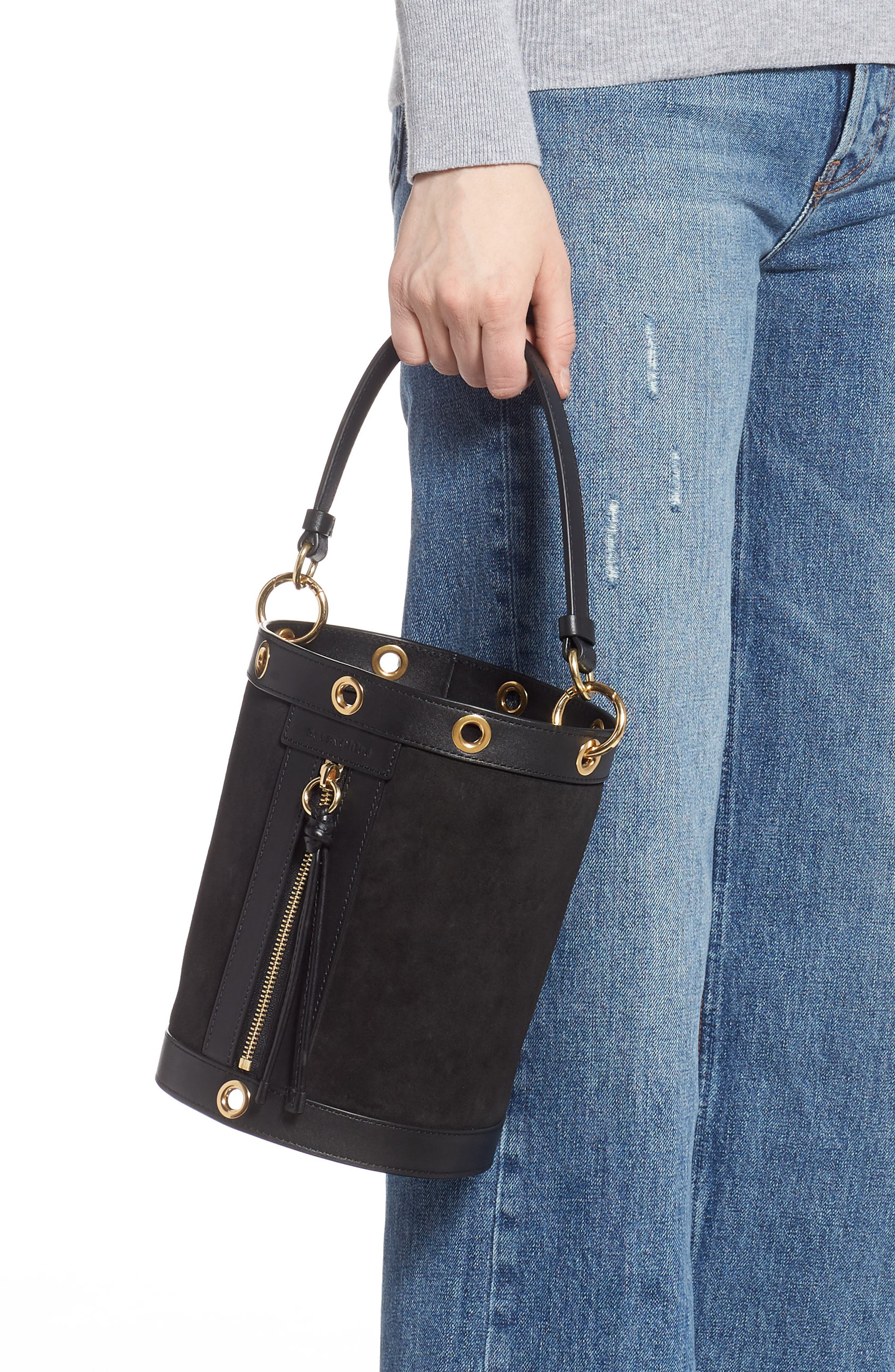 SEE BY CHLOÉ, Debbie Leather Bucket Bag, Alternate thumbnail 3, color, 001