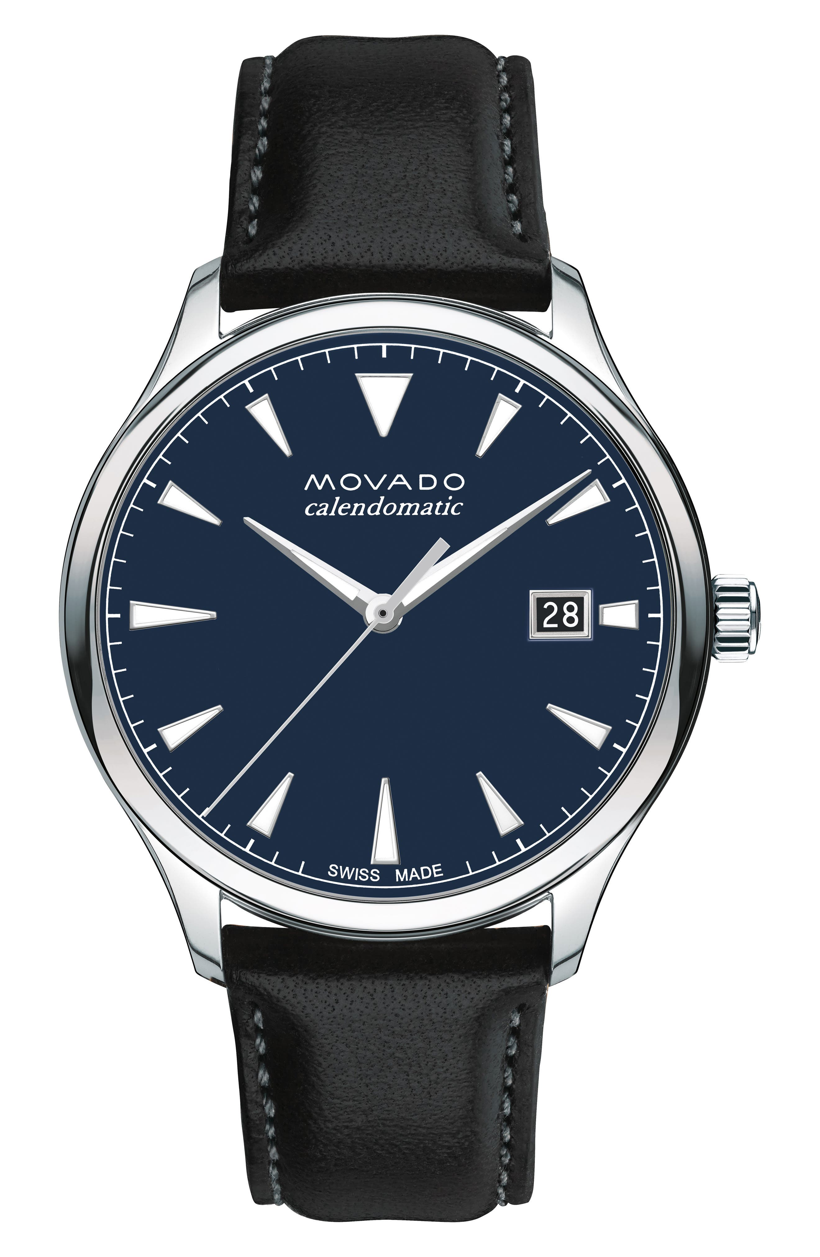 MOVADO, Heritage Leather Strap Watch, 40mm, Main thumbnail 1, color, BLACK/ NAVY/ SILVER
