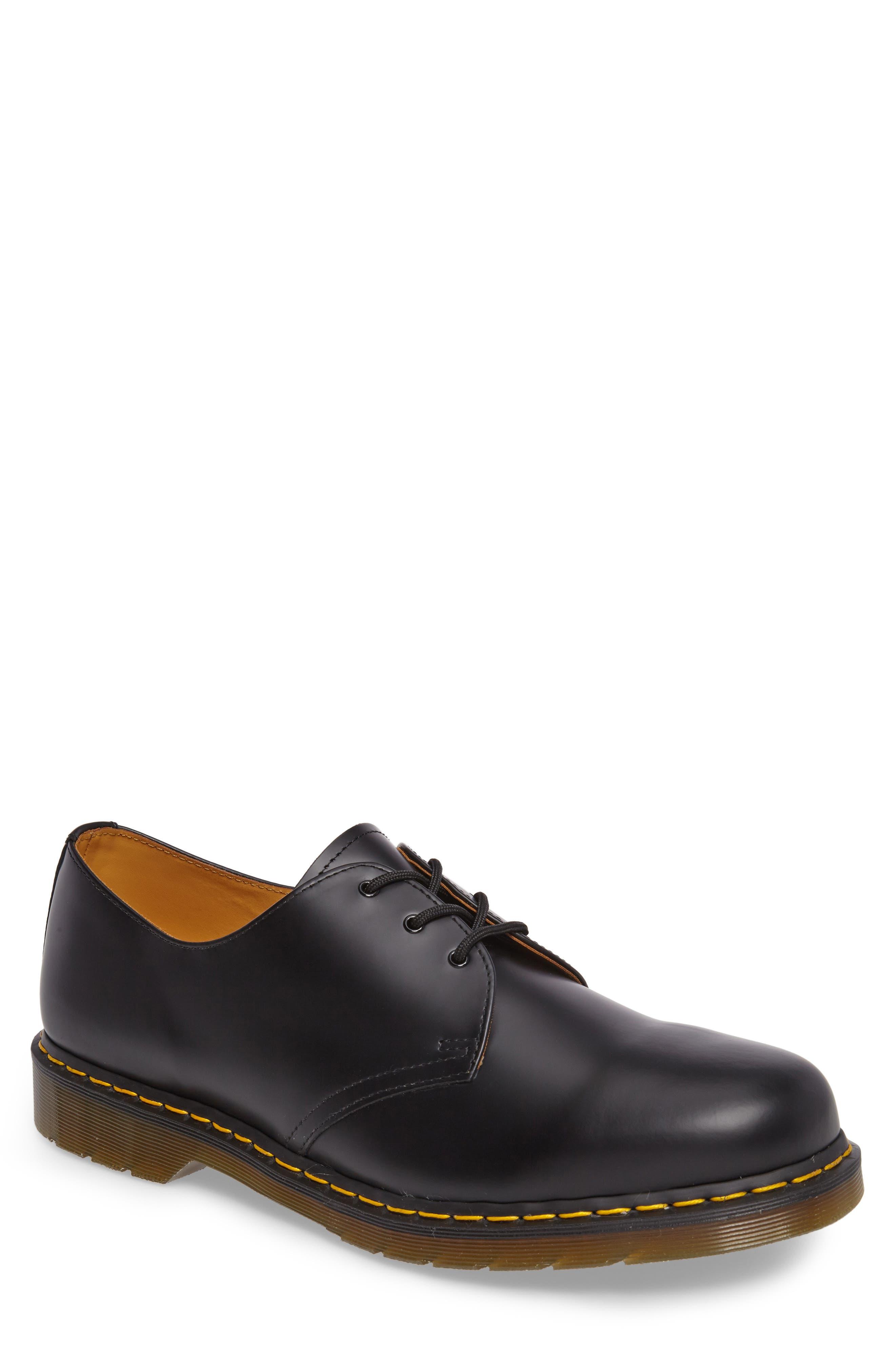 DR. MARTENS Plain Toe Derby, Main, color, BLACK SMOOTH