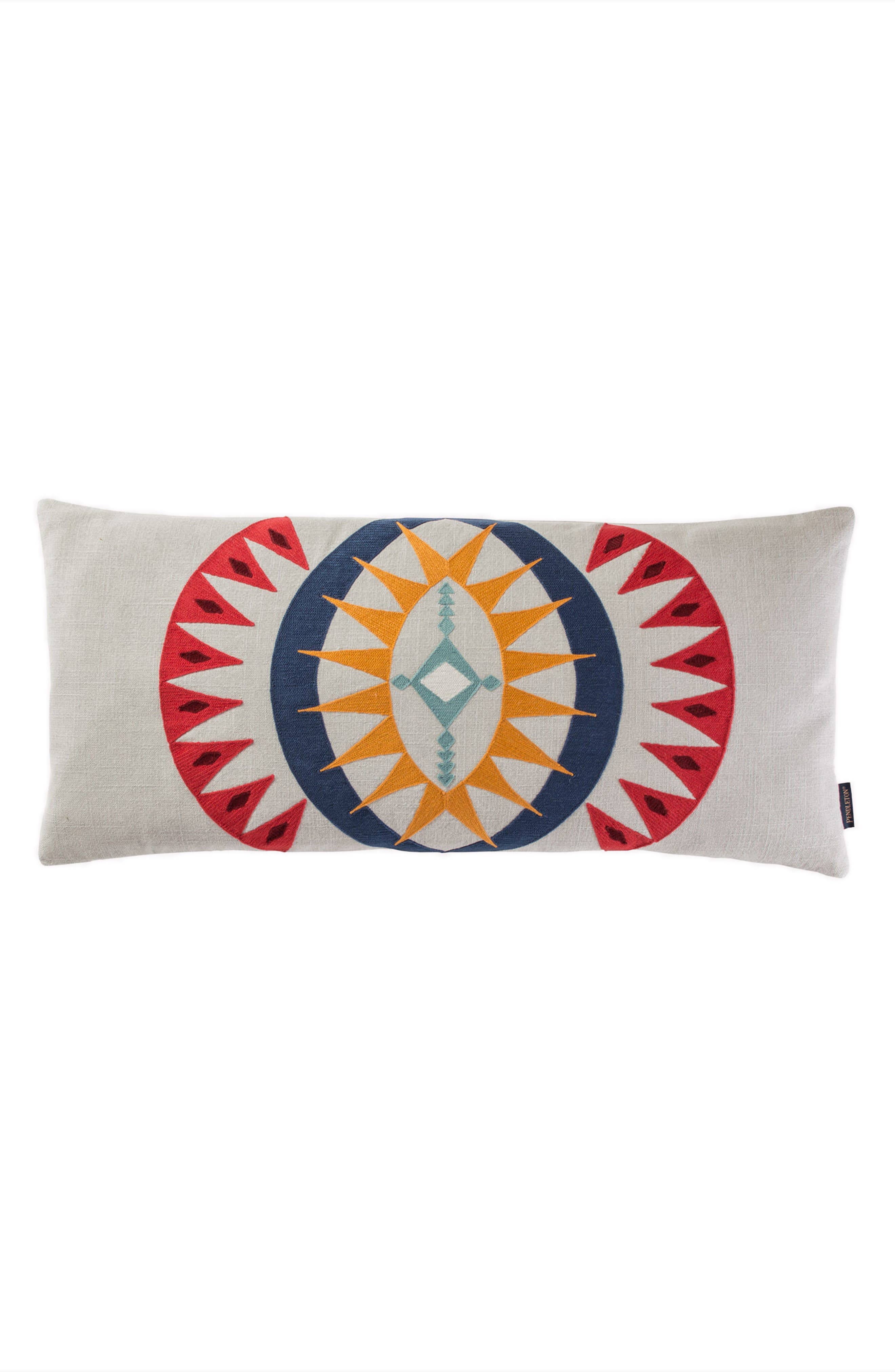 PENDLETON, Point Reyes Crewel Embroidered Accent Pillow, Main thumbnail 1, color, GREY MULTI