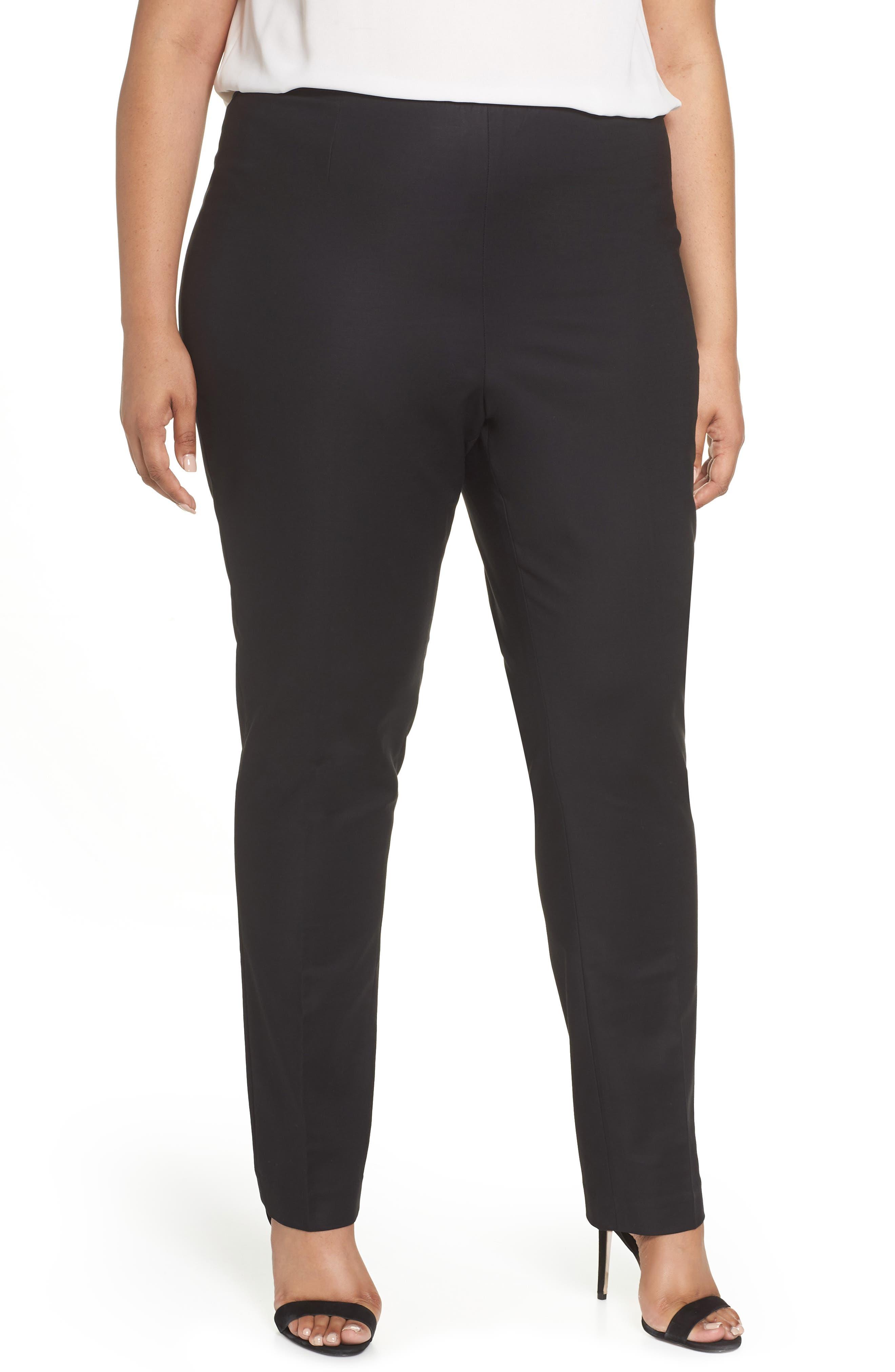 NIC+ZOE 'Perfect' Side Zip Pants, Main, color, BLACK ONYX