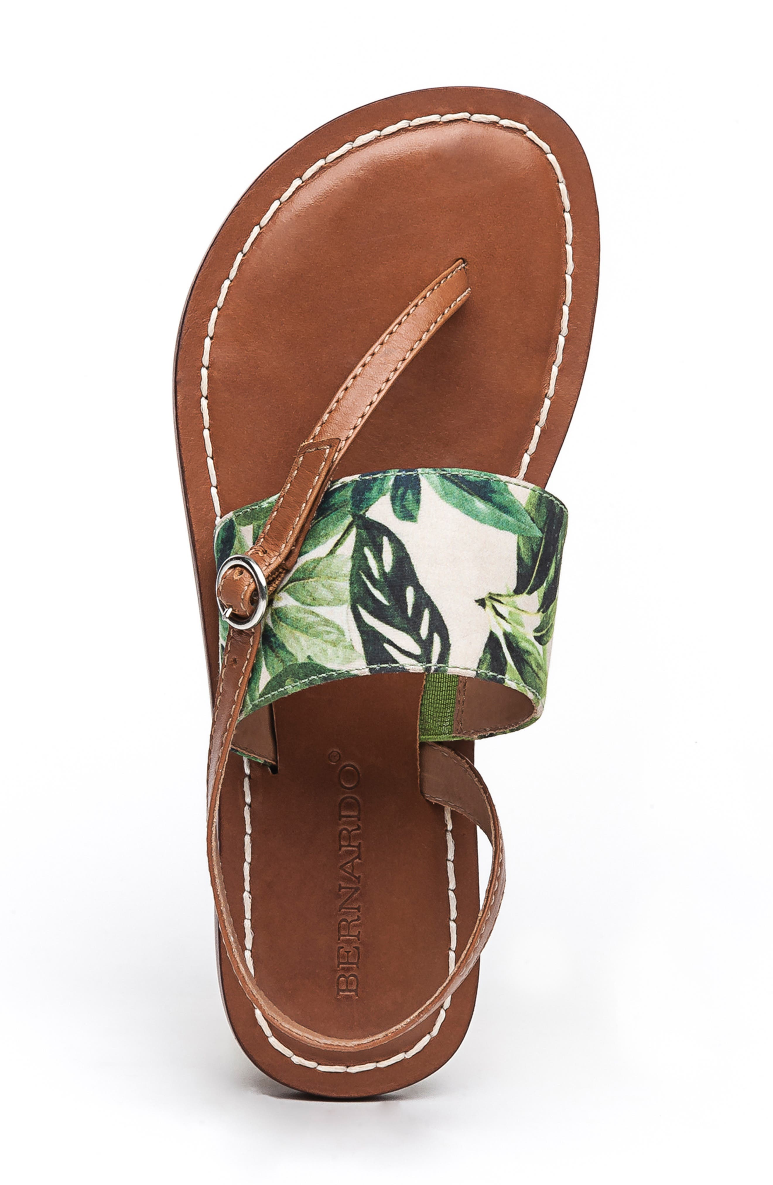 BERNARDO, Footwear Meg Thong Sandal, Alternate thumbnail 5, color, PALM FABRIC/ LUGGAGE LEATHER