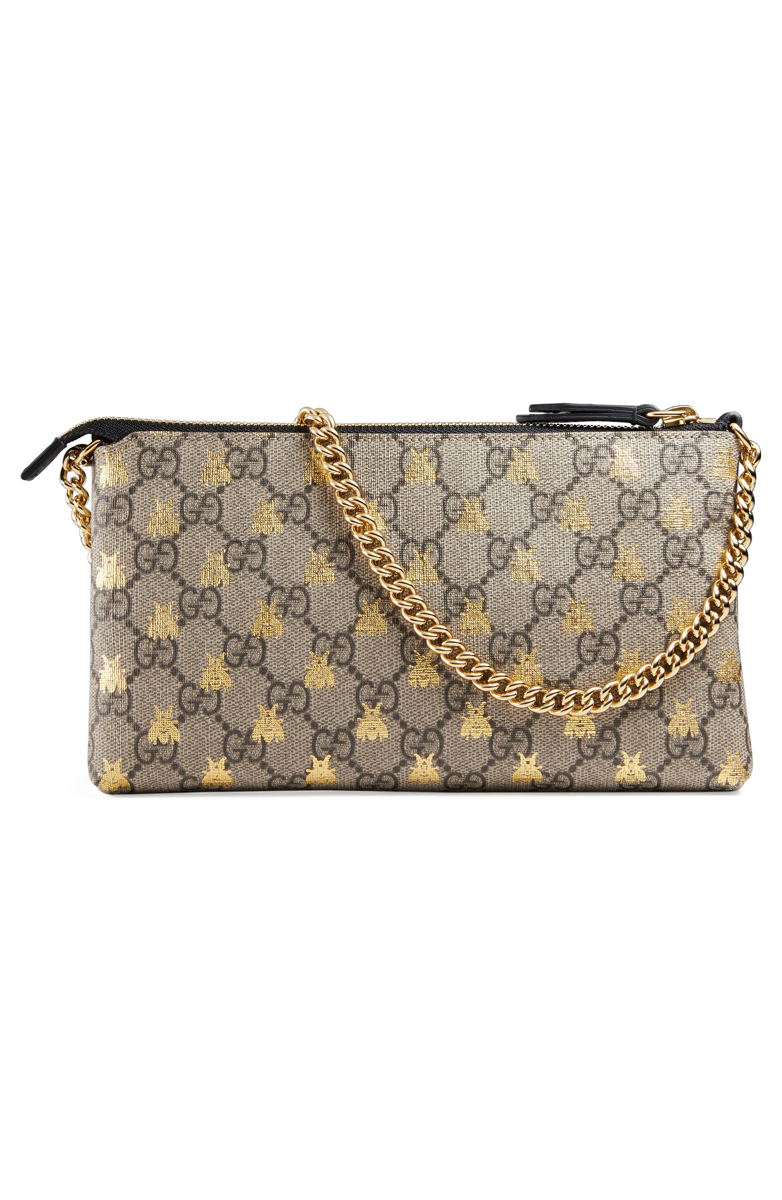 GUCCI, Linea Bee GG Supreme Wrist Wallet, Alternate thumbnail 3, color, 250