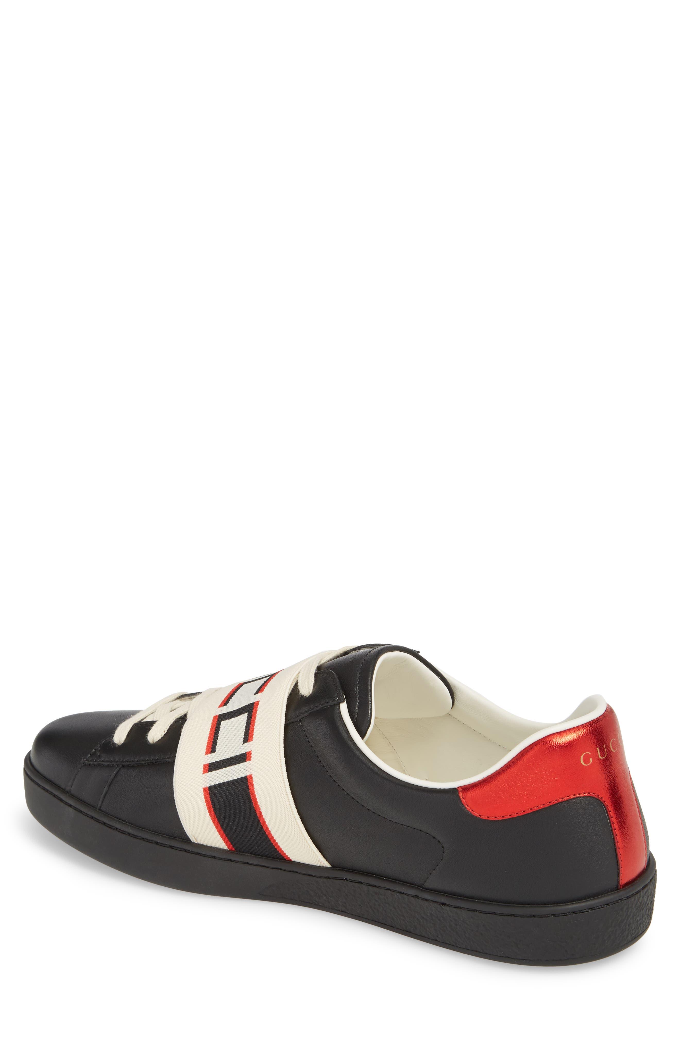 GUCCI, New Ace Stripe Leather Sneaker, Alternate thumbnail 2, color, BLACK