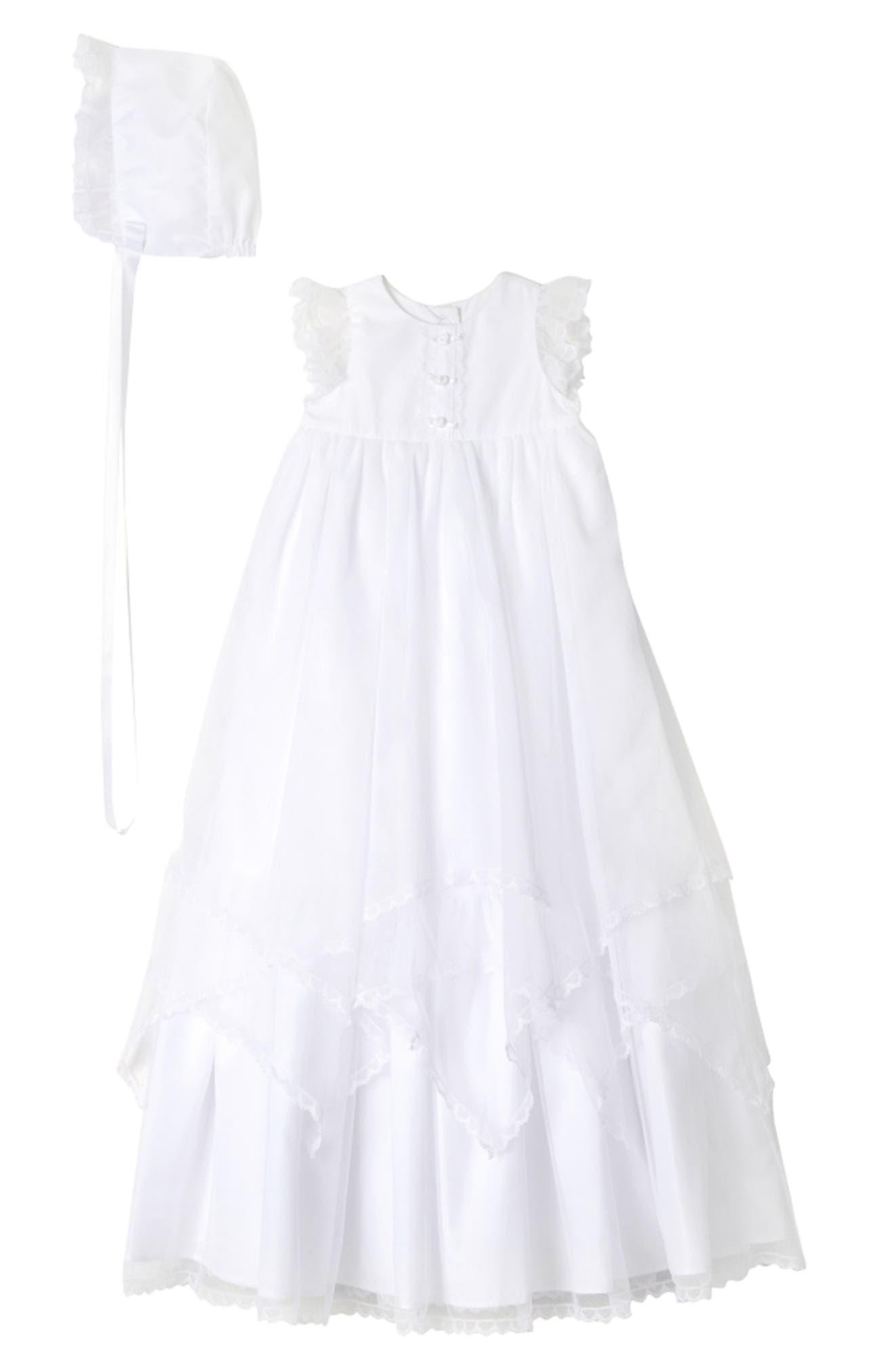 PIPPA & JULIE Christening Gown & Bonnet, Main, color, WHITE