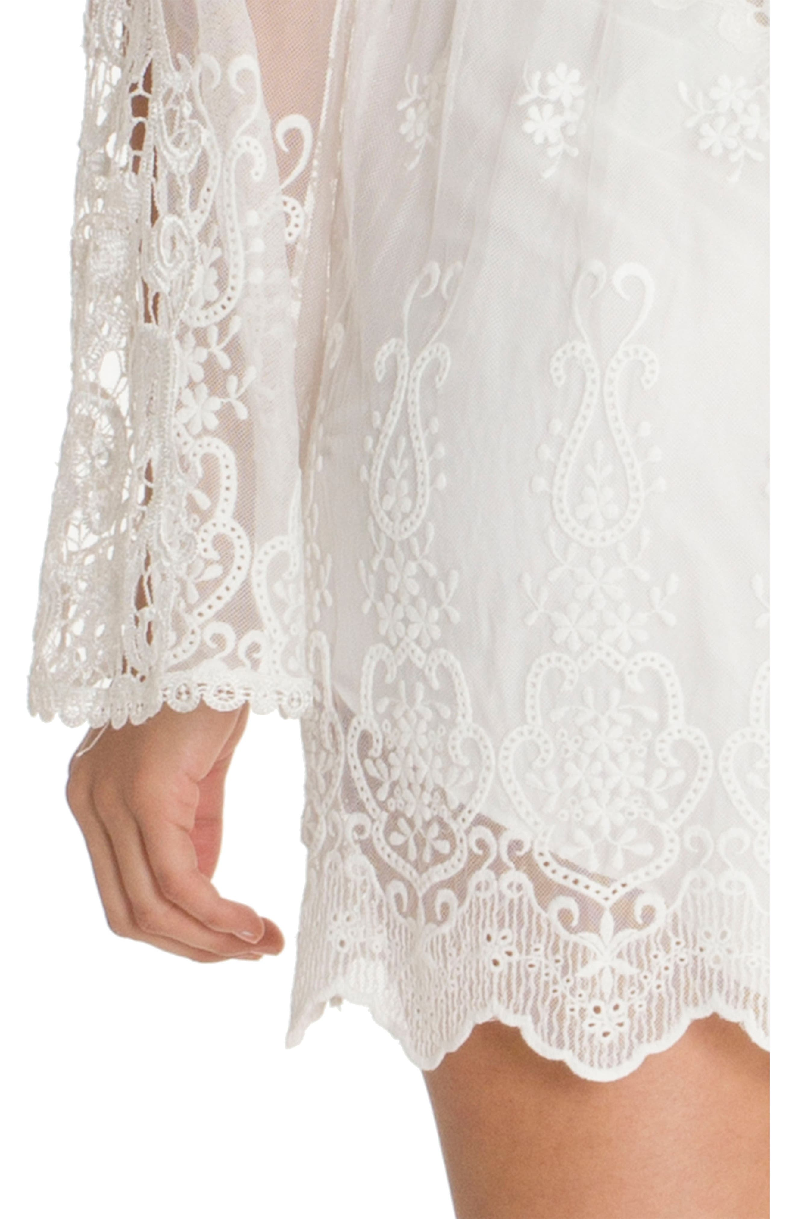IN BLOOM BY JONQUIL, Embroidered Mesh Wrap, Alternate thumbnail 4, color, IVORY