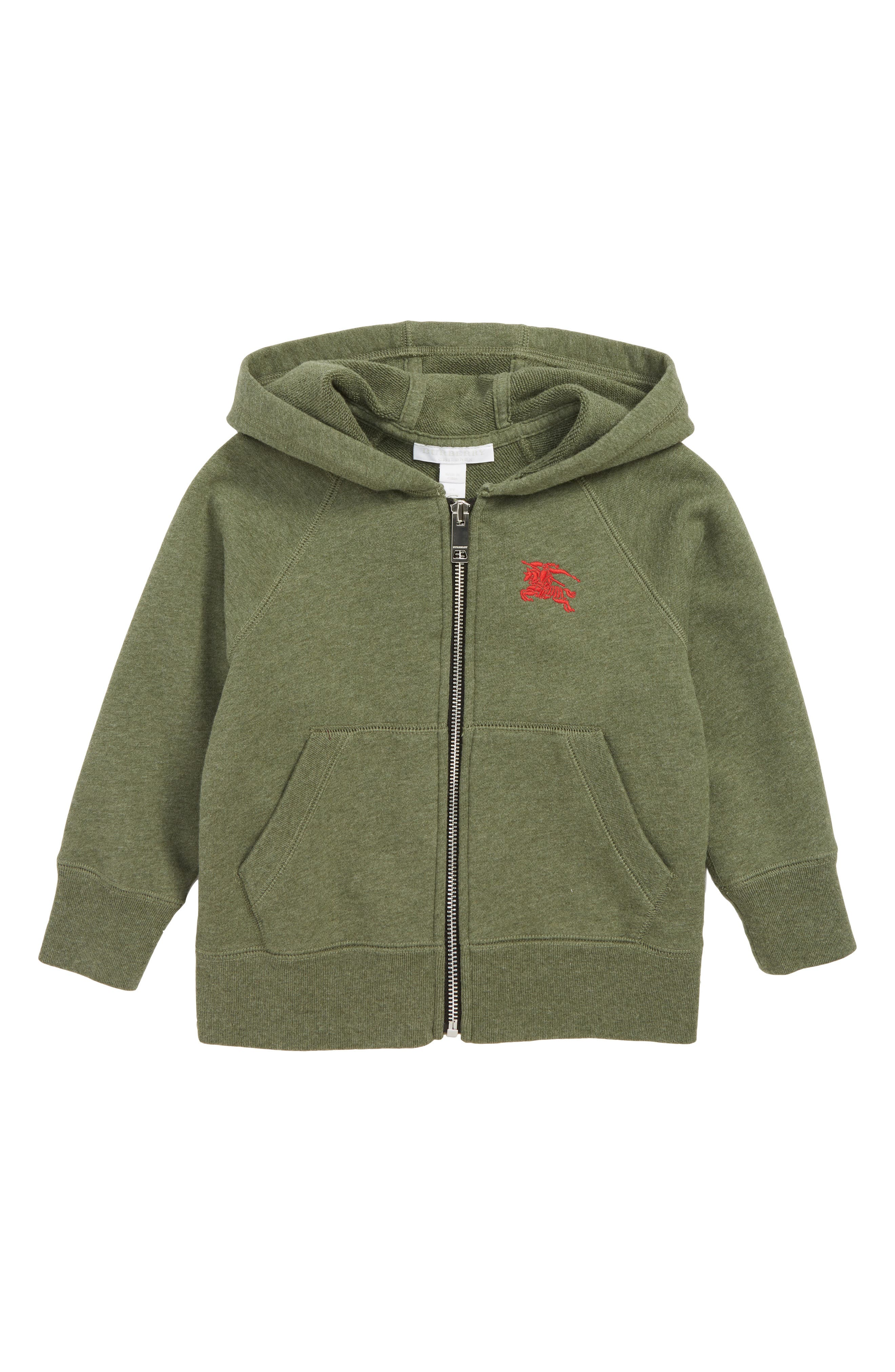 Toddler Boys Burberry Gunther Zip Hoodie Size 4Y  Green