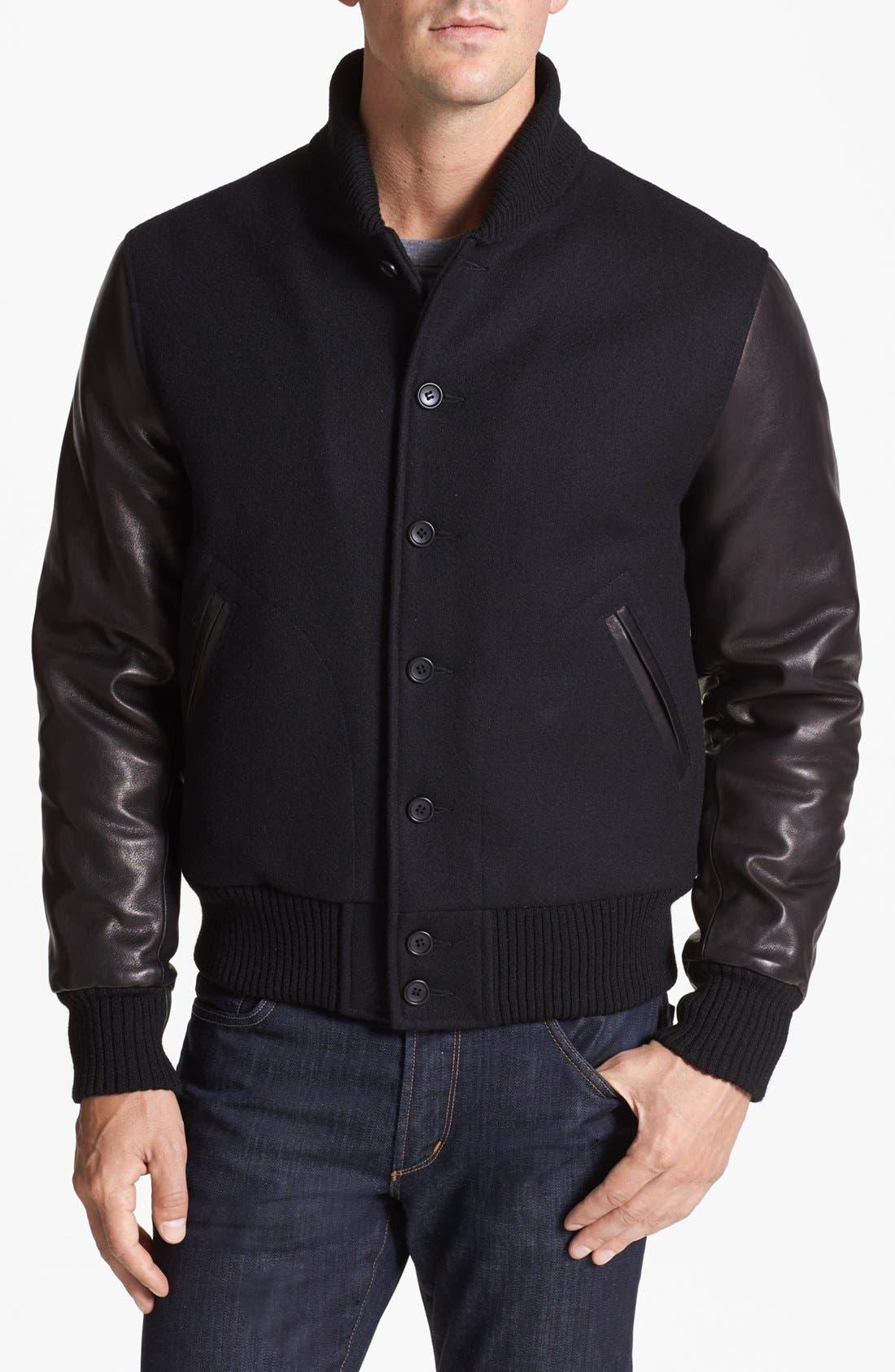 TODD SNYDER + CHAMPION Letterman Jacket, Main, color, 001