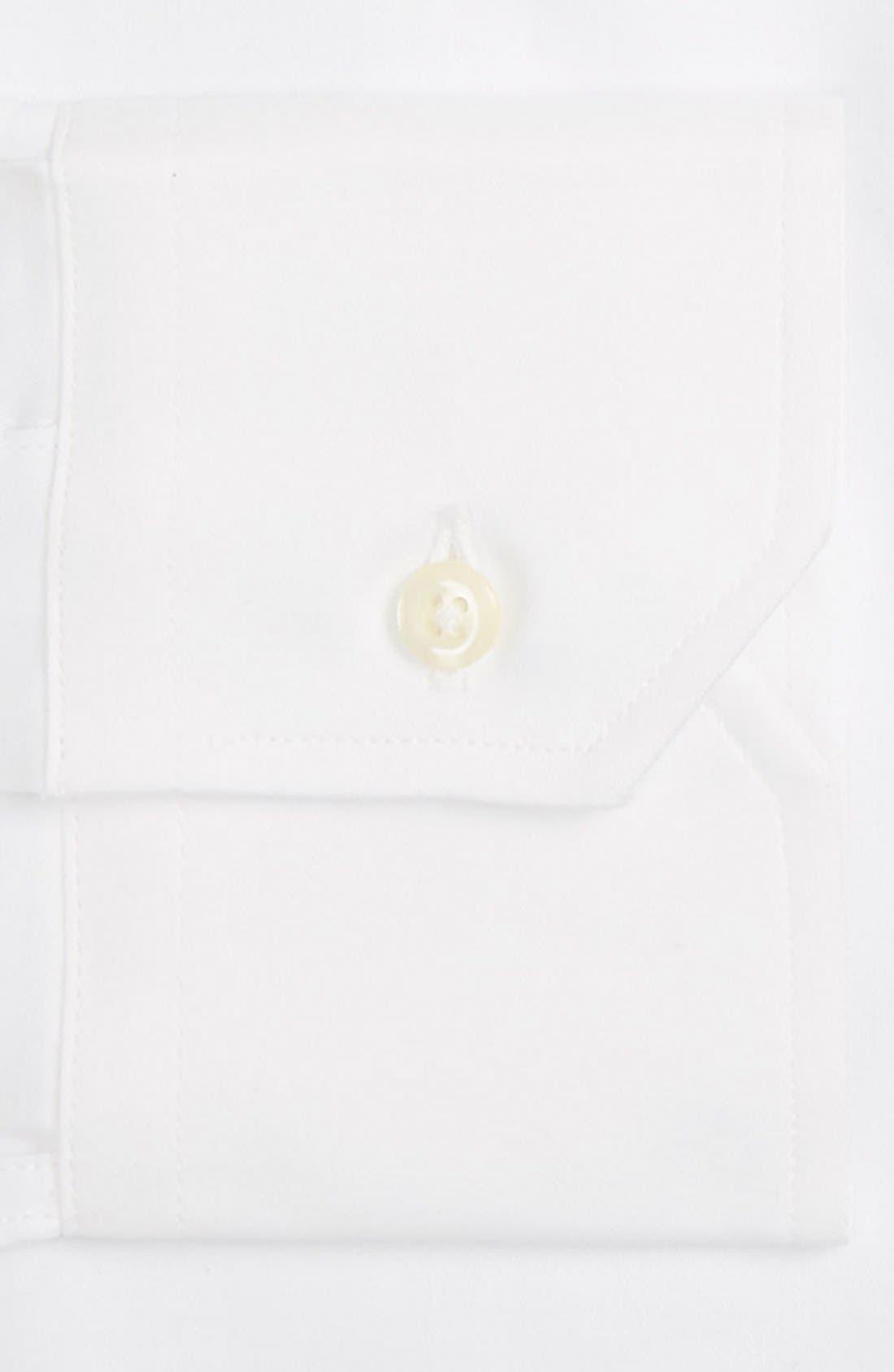 GITMAN, Tailored Fit Solid Dress Shirt, Alternate thumbnail 3, color, WHITE