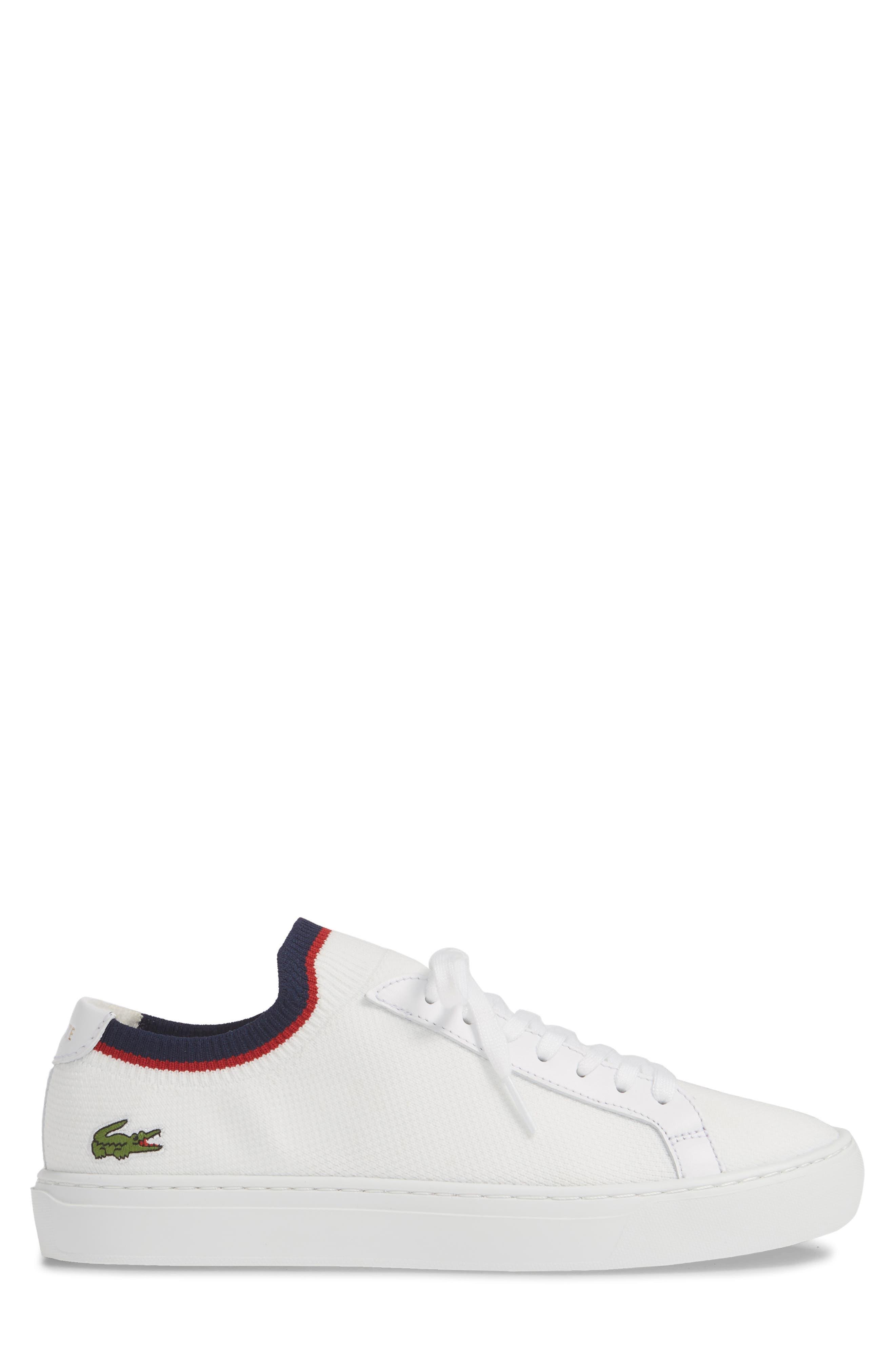 LACOSTE, Piqué Knit Sneaker, Alternate thumbnail 3, color, WHITE/ NAVY/ RED