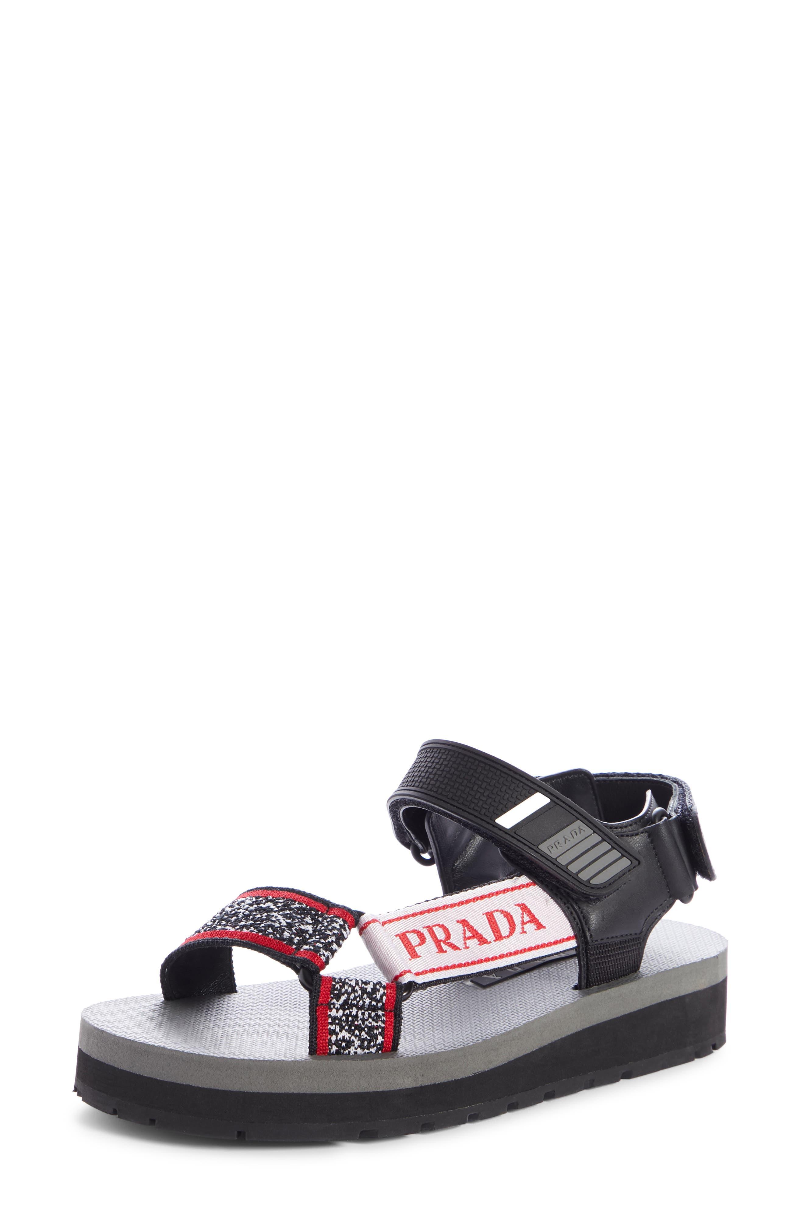 PRADA, Sport Sandal, Main thumbnail 1, color, BLACK/ RED