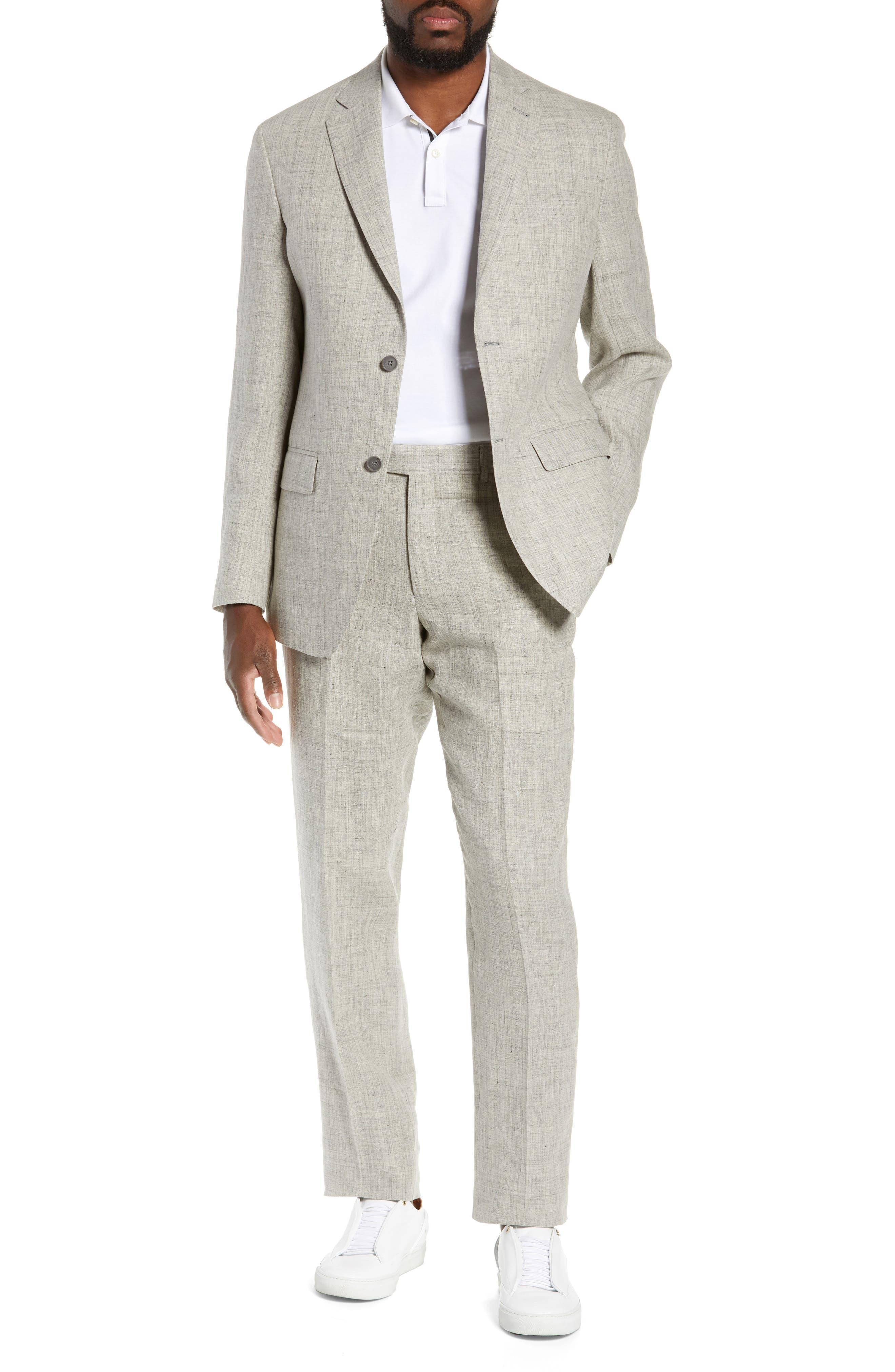 NORDSTROM MEN'S SHOP, Flat Front Mélange Linen Trousers, Alternate thumbnail 8, color, LIGHT GREY