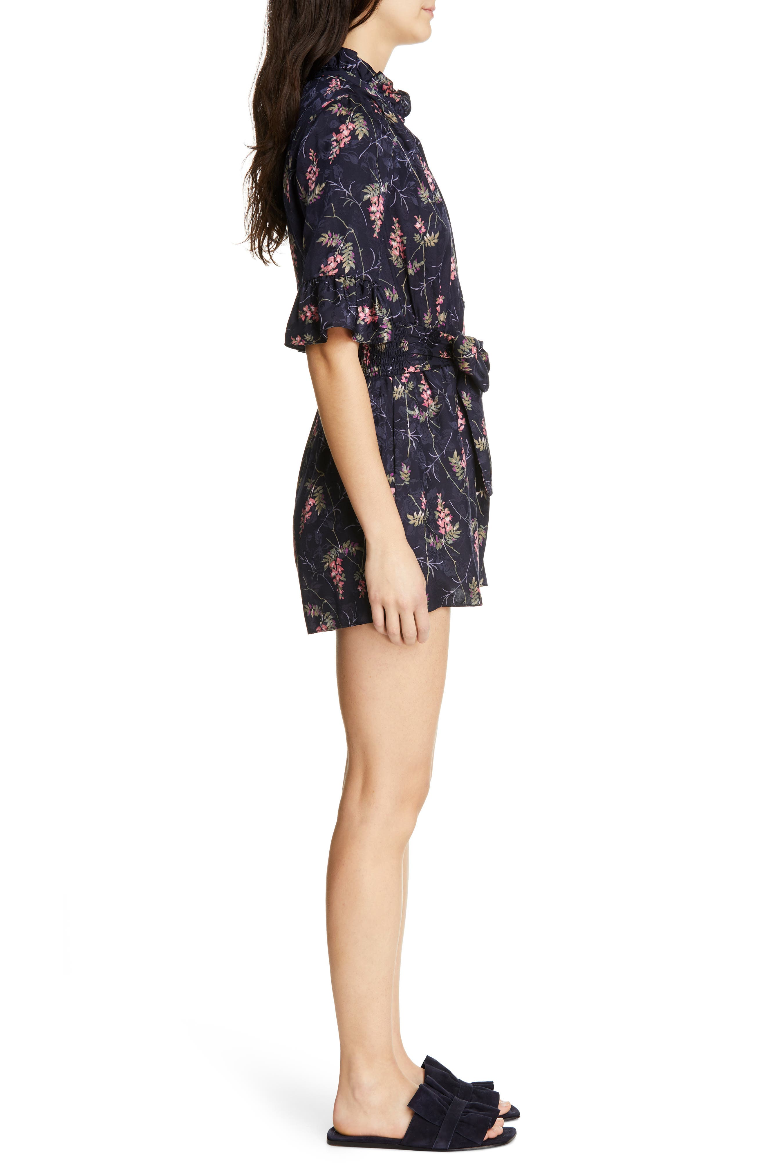 REBECCA TAYLOR, Ivie Floral Silk Blend Romper, Alternate thumbnail 4, color, NAVY COMBO