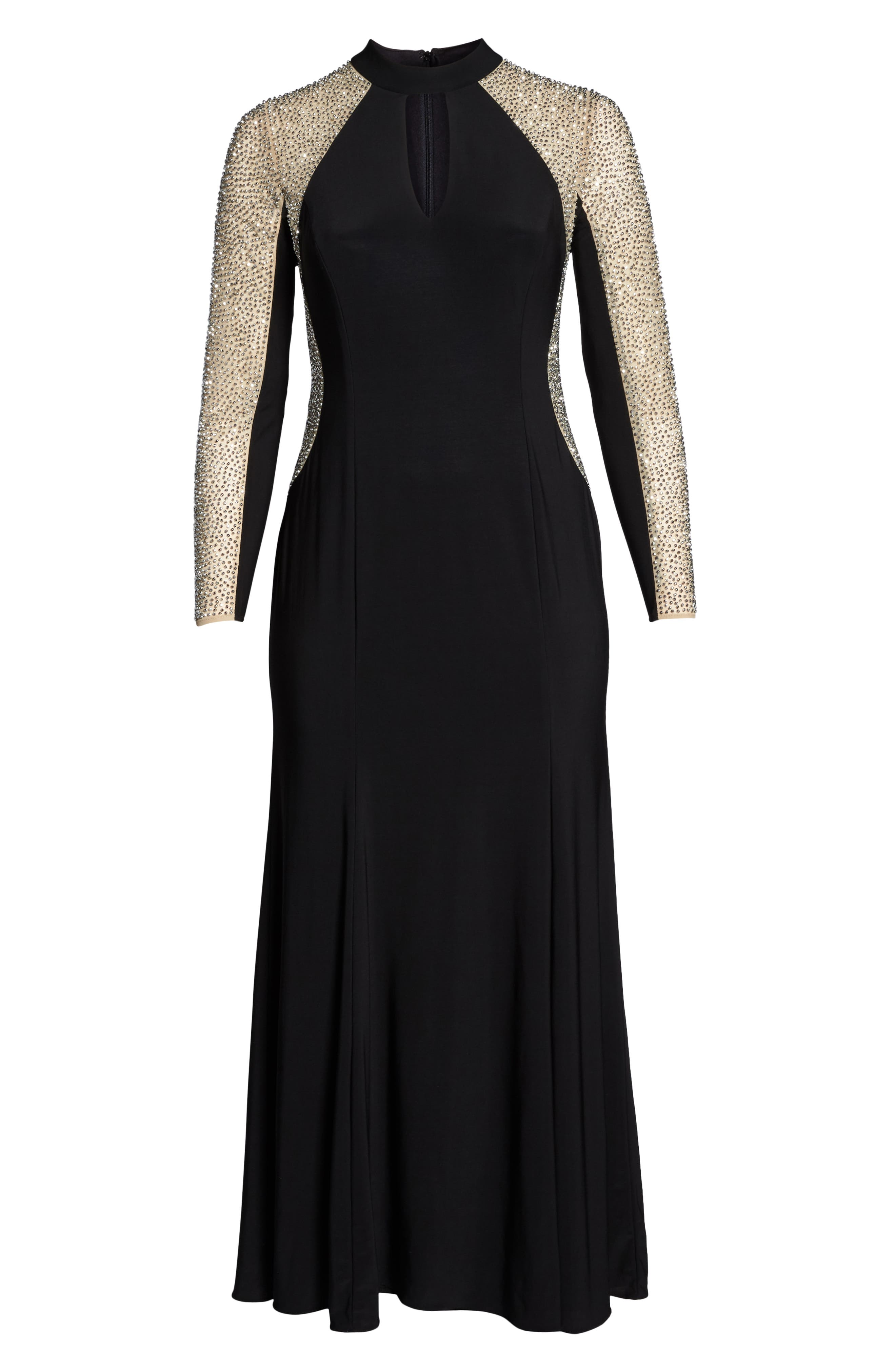 XSCAPE, Beaded A-Line Gown, Alternate thumbnail 7, color, BLACK/ NUDE/ SILVER