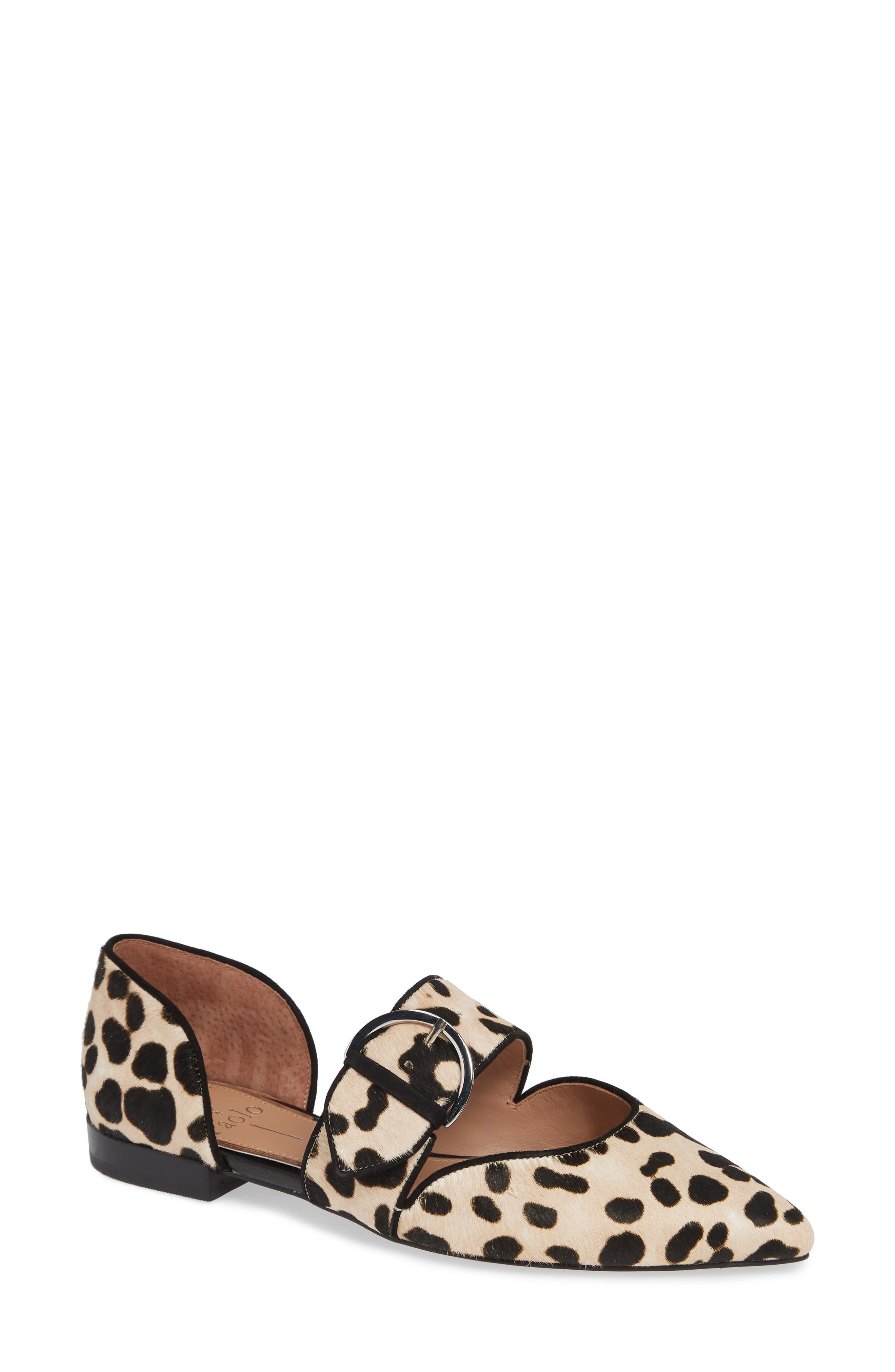 LINEA PAOLO, Dean Pointy Toe Flat, Main thumbnail 1, color, WHITE/ BLACK PRINT HAIRCALF