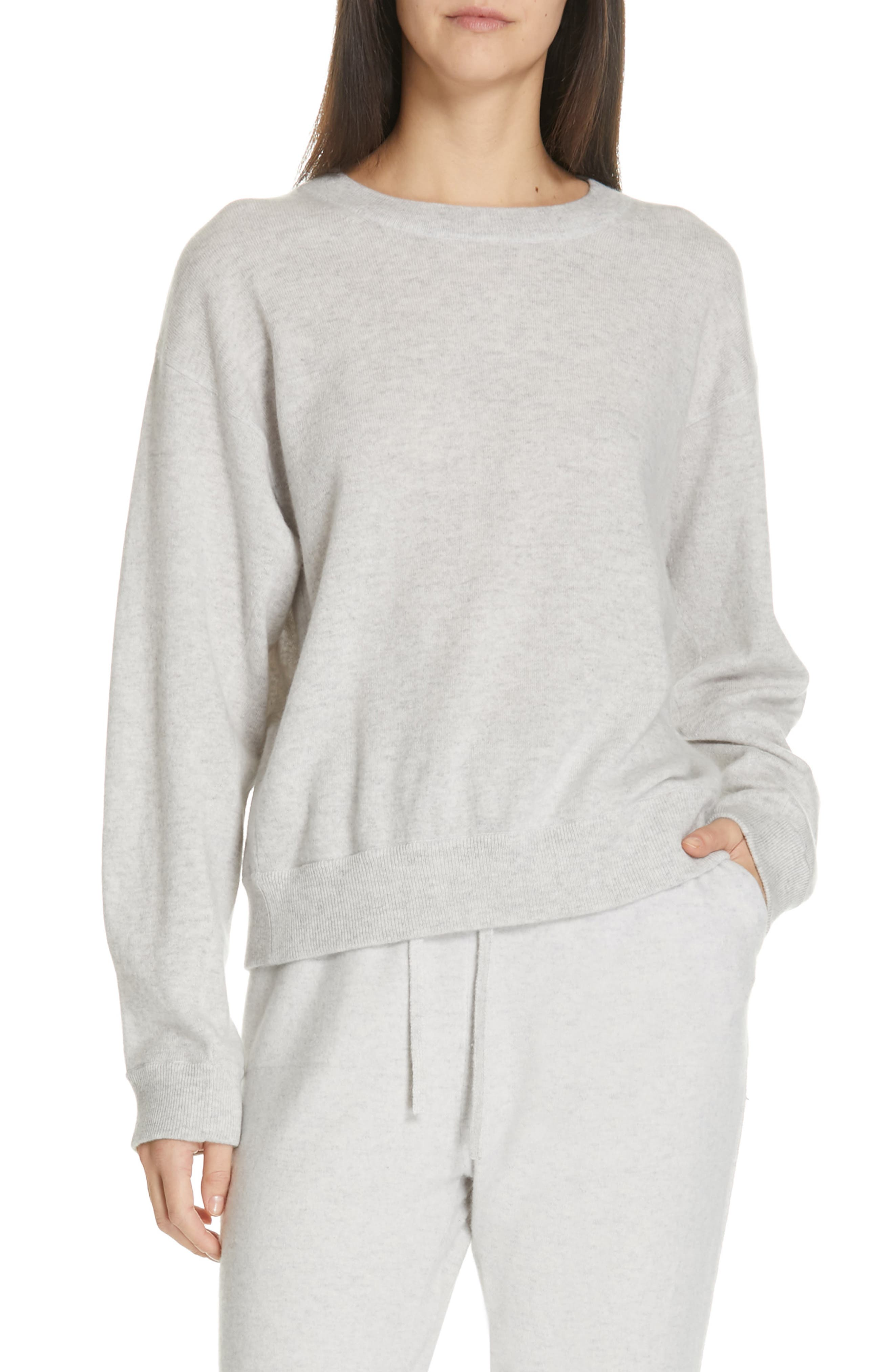VINCE, Boxy Cashmere Sweater, Main thumbnail 1, color, LIGHT HEATHER GREY