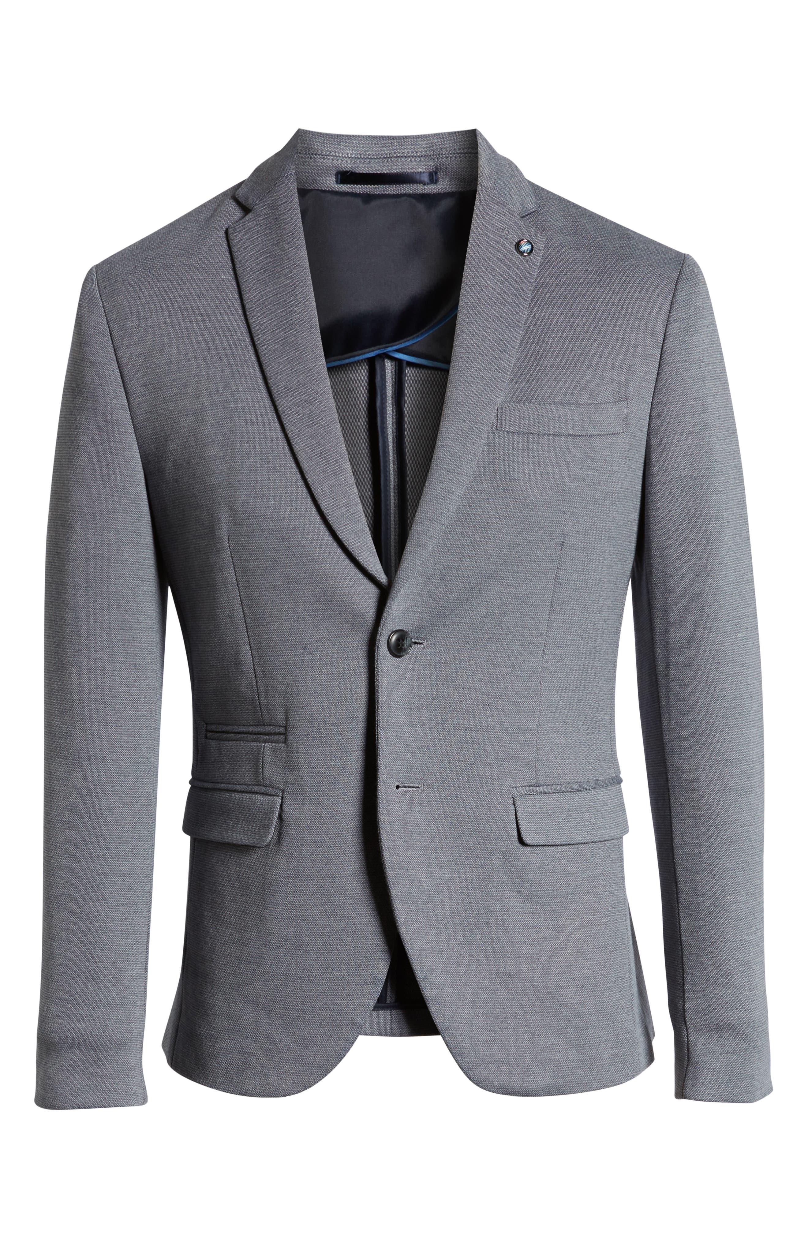 SELECTED HOMME, Slim Fit Sport Coat, Alternate thumbnail 6, color, GREY MELANGE