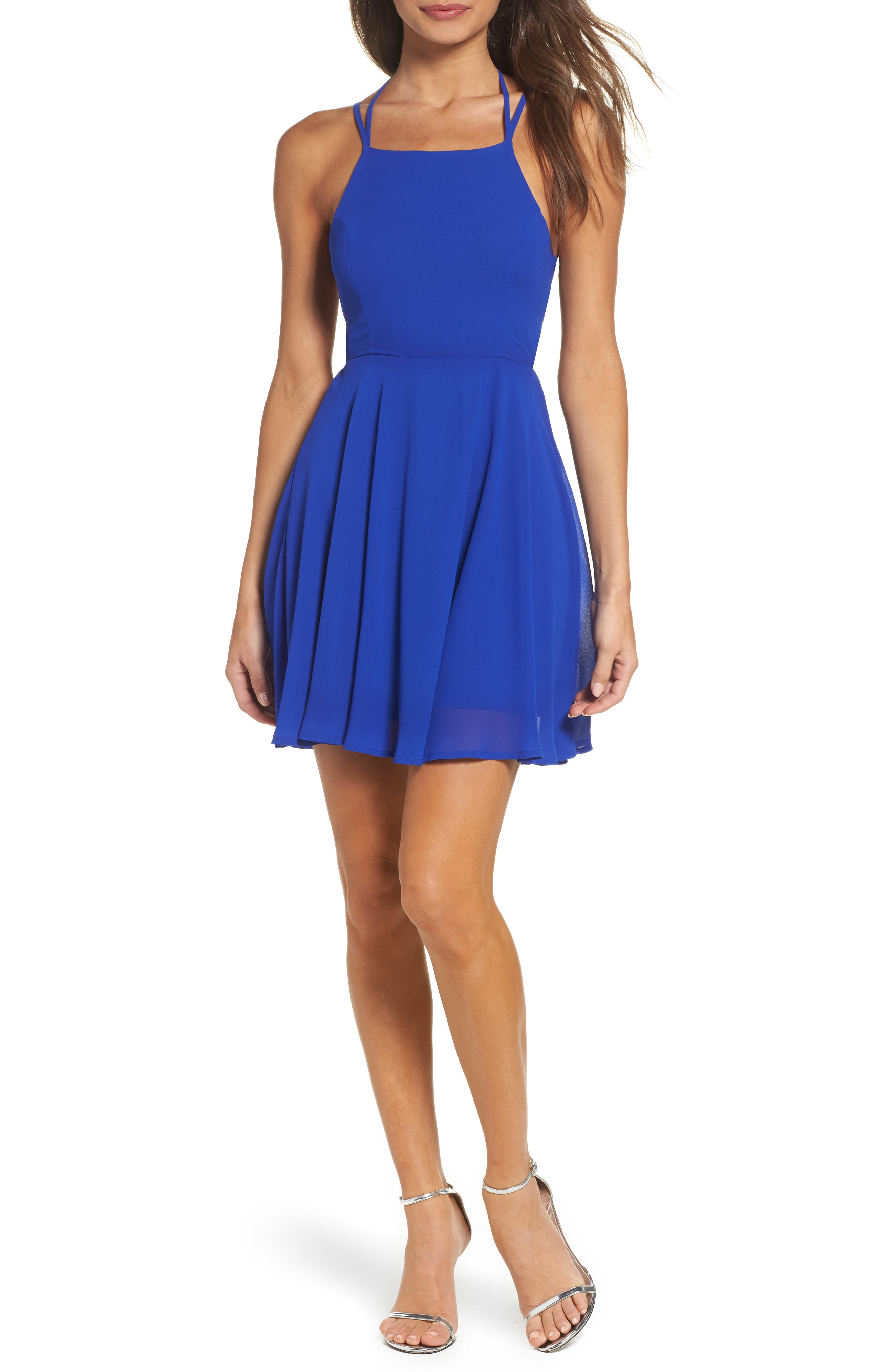 LULUS Good Deeds Lace-Up Skater Dress, Main, color, ROYAL BLUE