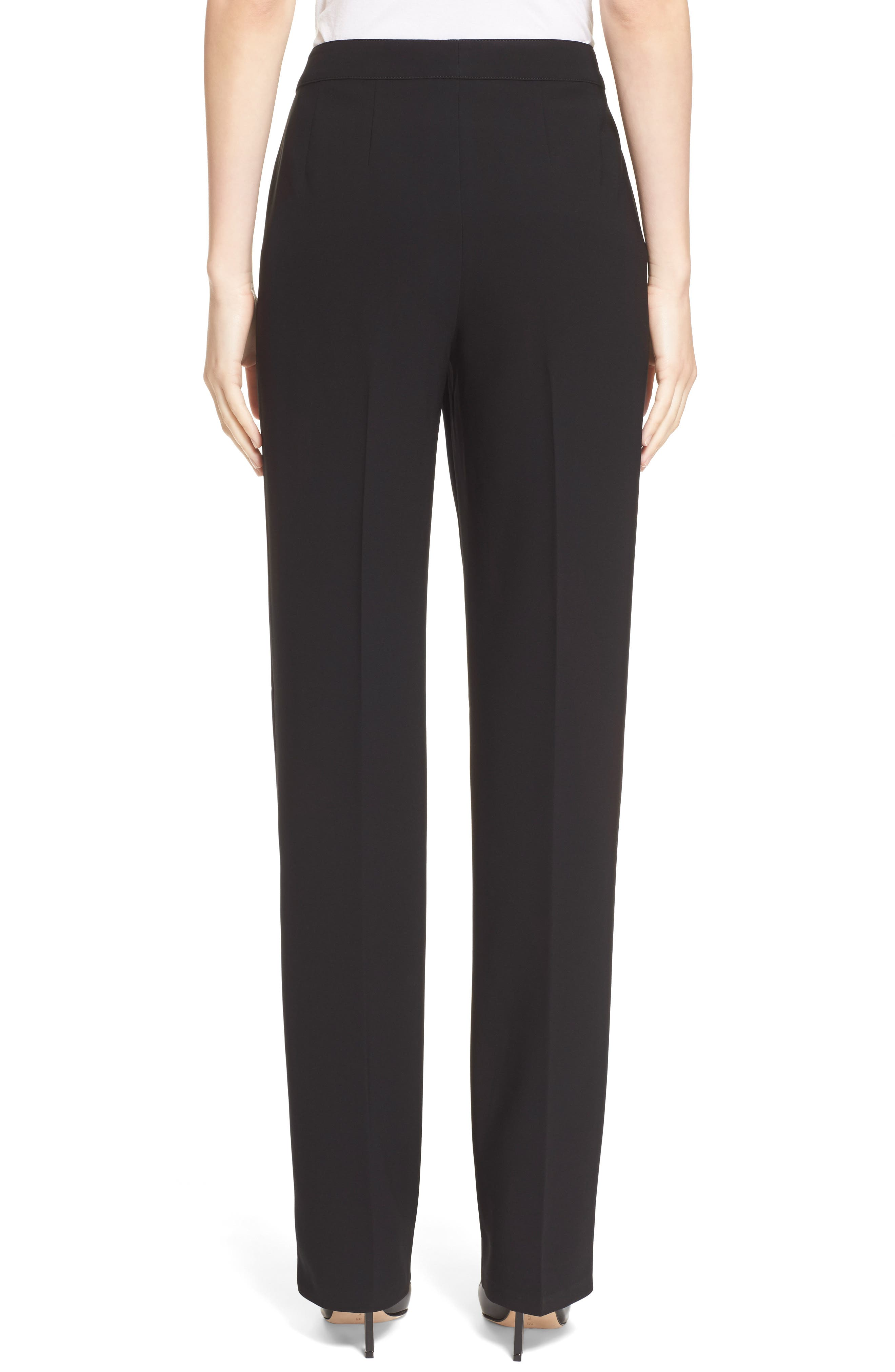 ST. JOHN COLLECTION, Diana Straight Leg Crepe Marocain Pants, Alternate thumbnail 4, color, CAVIAR