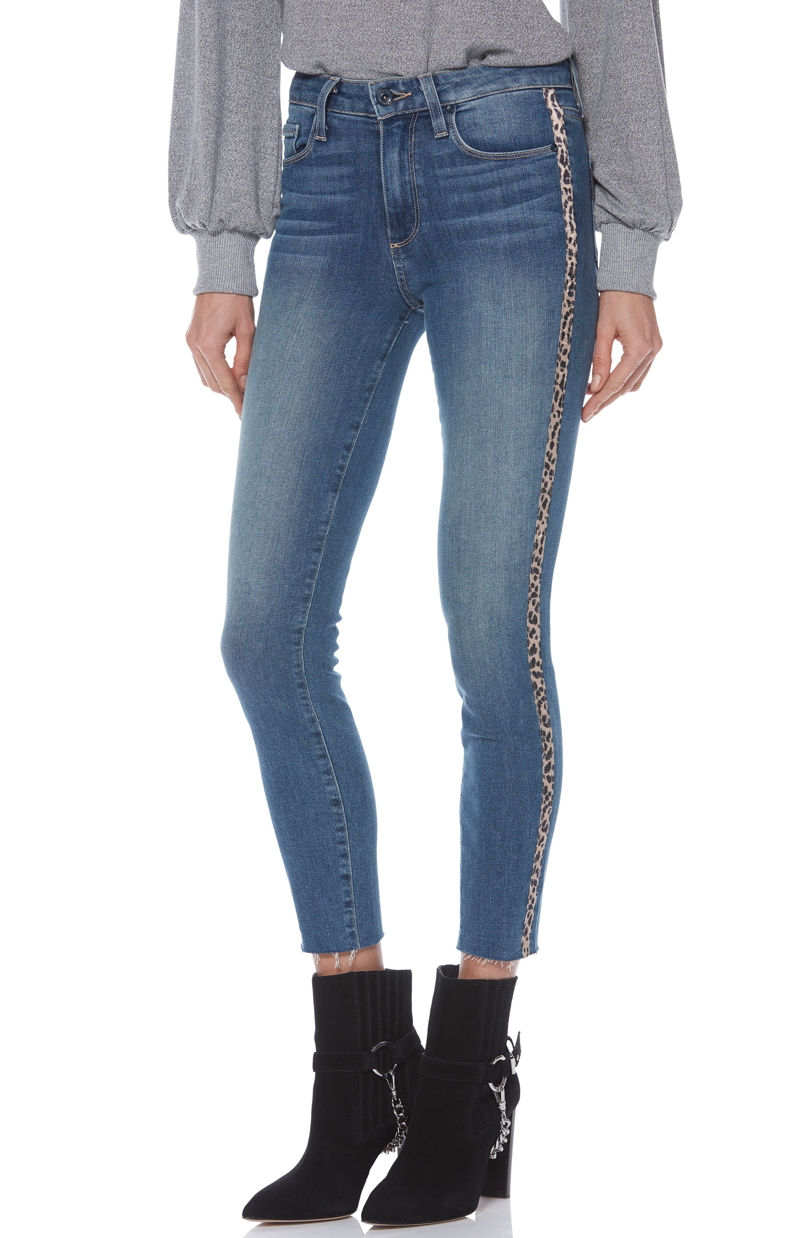 PAIGE, Hoxton High Waist Raw Hem Crop Skinny Jeans, Main thumbnail 1, color, BARKLEY W/ LEOPARD