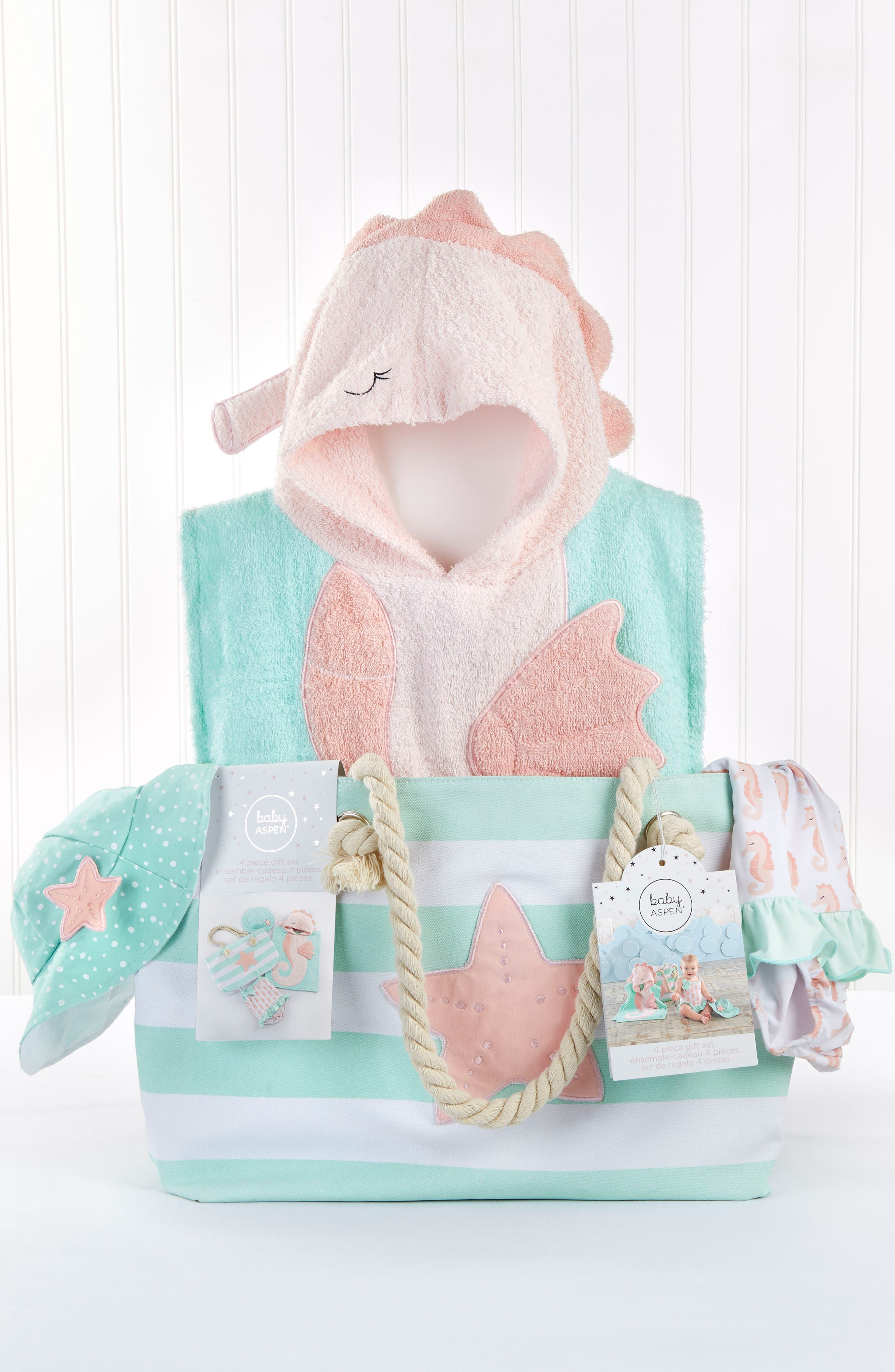 BABY ASPEN, Seahorse Hooded Towel, Swimsuit, Sun Hat & Tote Set, Alternate thumbnail 2, color, 690