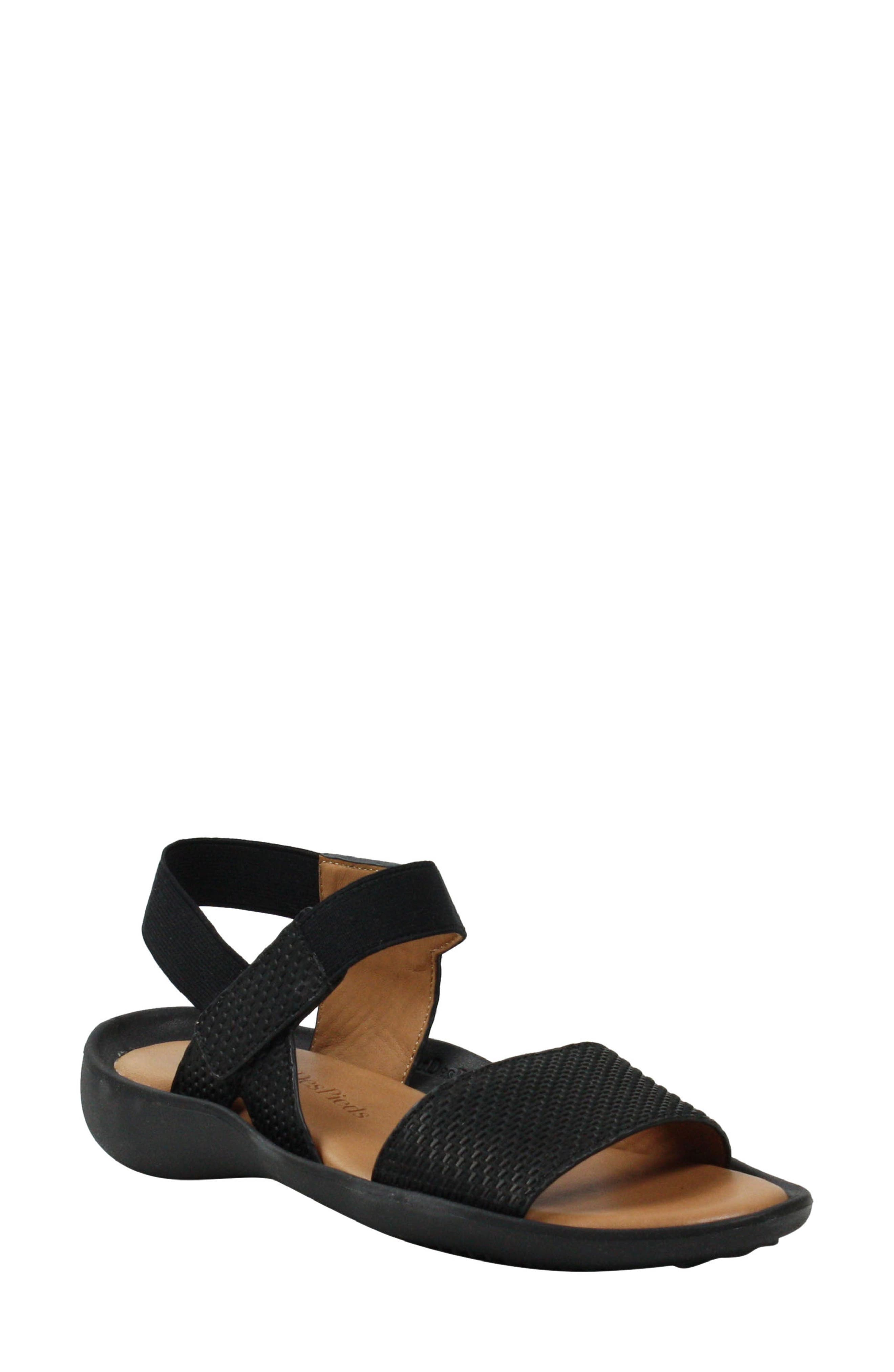 L'AMOUR DES PIEDS, Nolwyn Sandal, Main thumbnail 1, color, BLACK WOVEN LEATHER