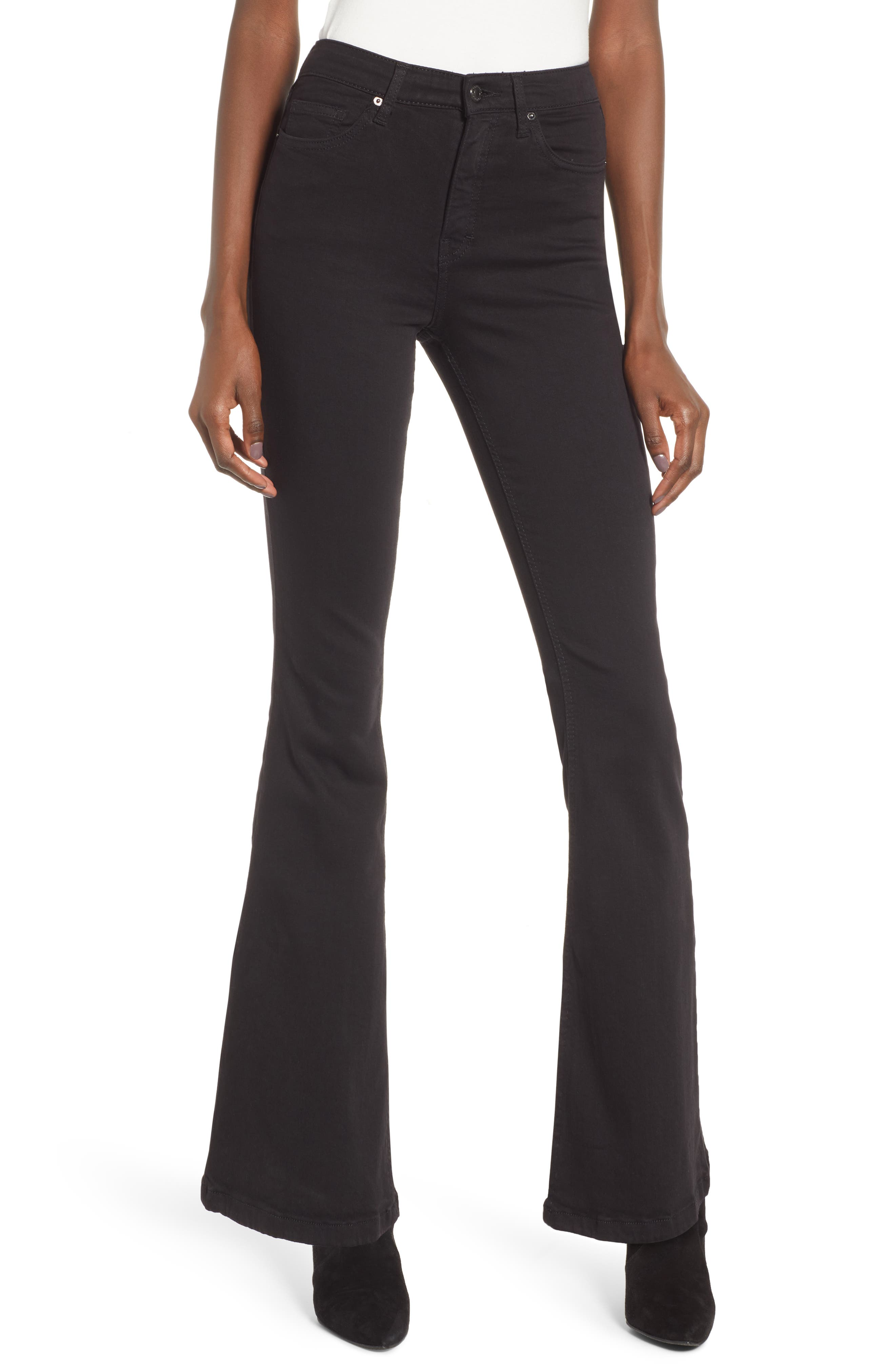 TOPSHOP, Jamie Flare Leg Jeans, Main thumbnail 1, color, OPEN BLACK