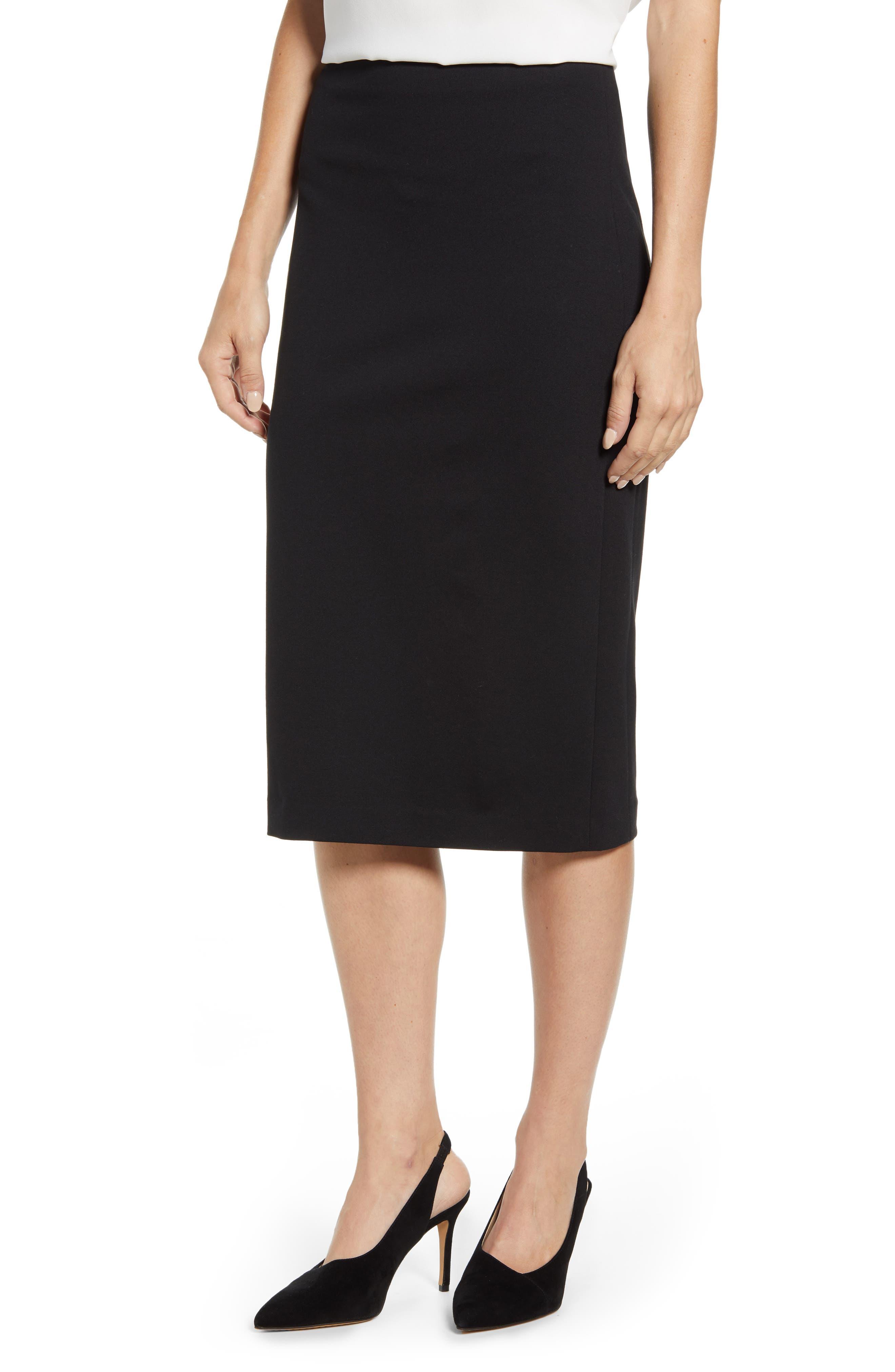VINCE CAMUTO, Ponte Midi Skirt, Main thumbnail 1, color, RICH BLACK