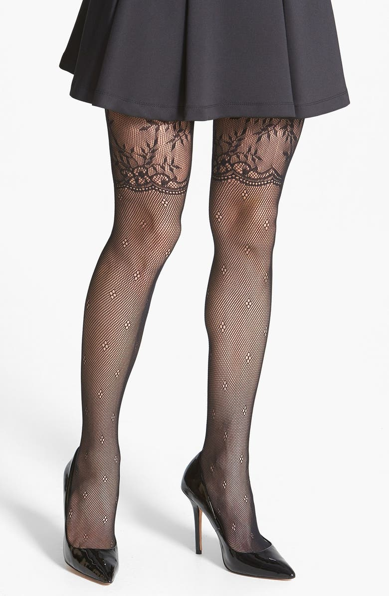 6f74e0251 PRETTY POLLY Alice + Olivia by Pretty Polly Lace Fishnet Mock Thigh High  Tights