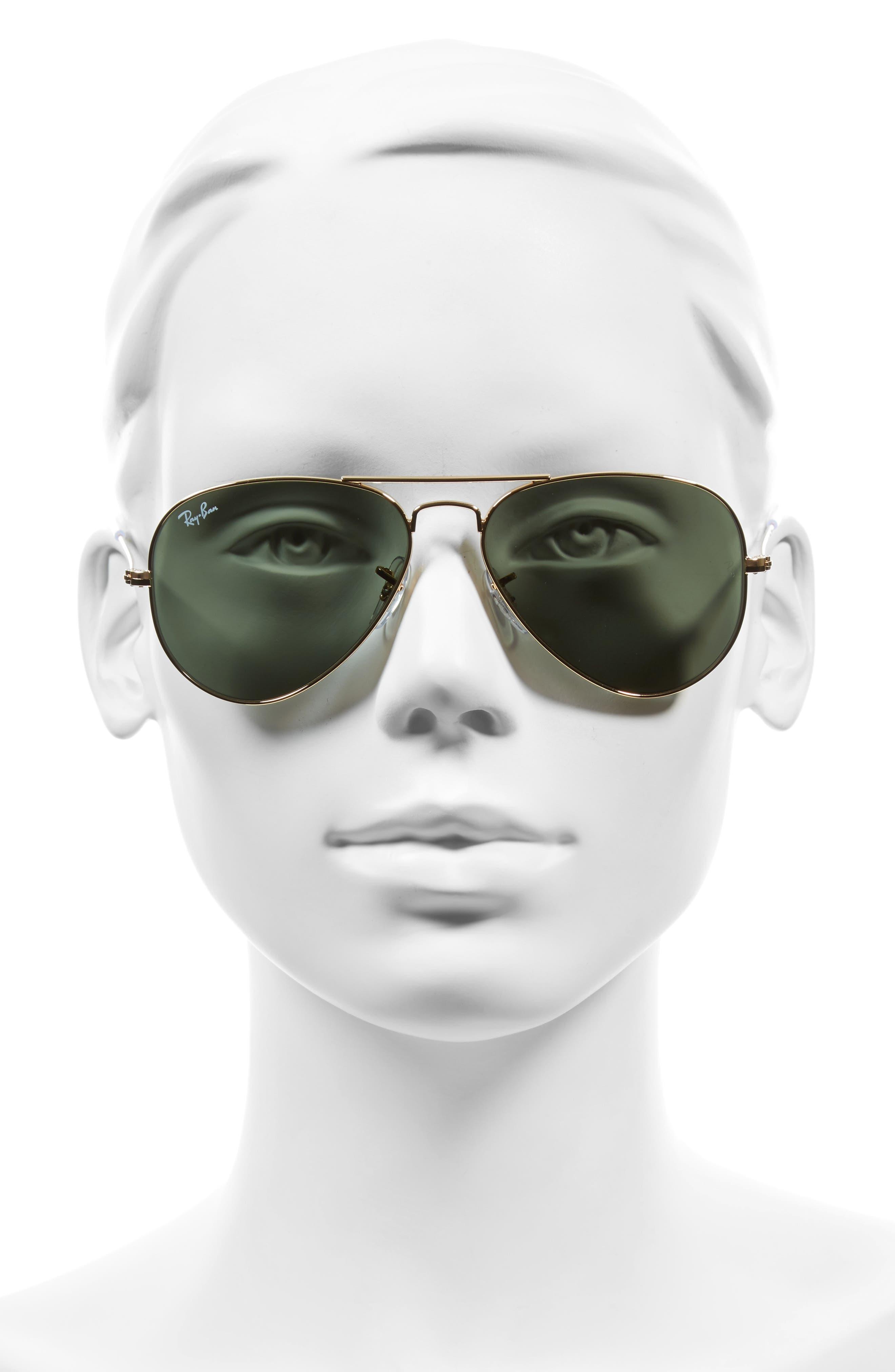 RAY-BAN, Small Original 55mm Aviator Sunglasses, Alternate thumbnail 2, color, GOLD/GREEN
