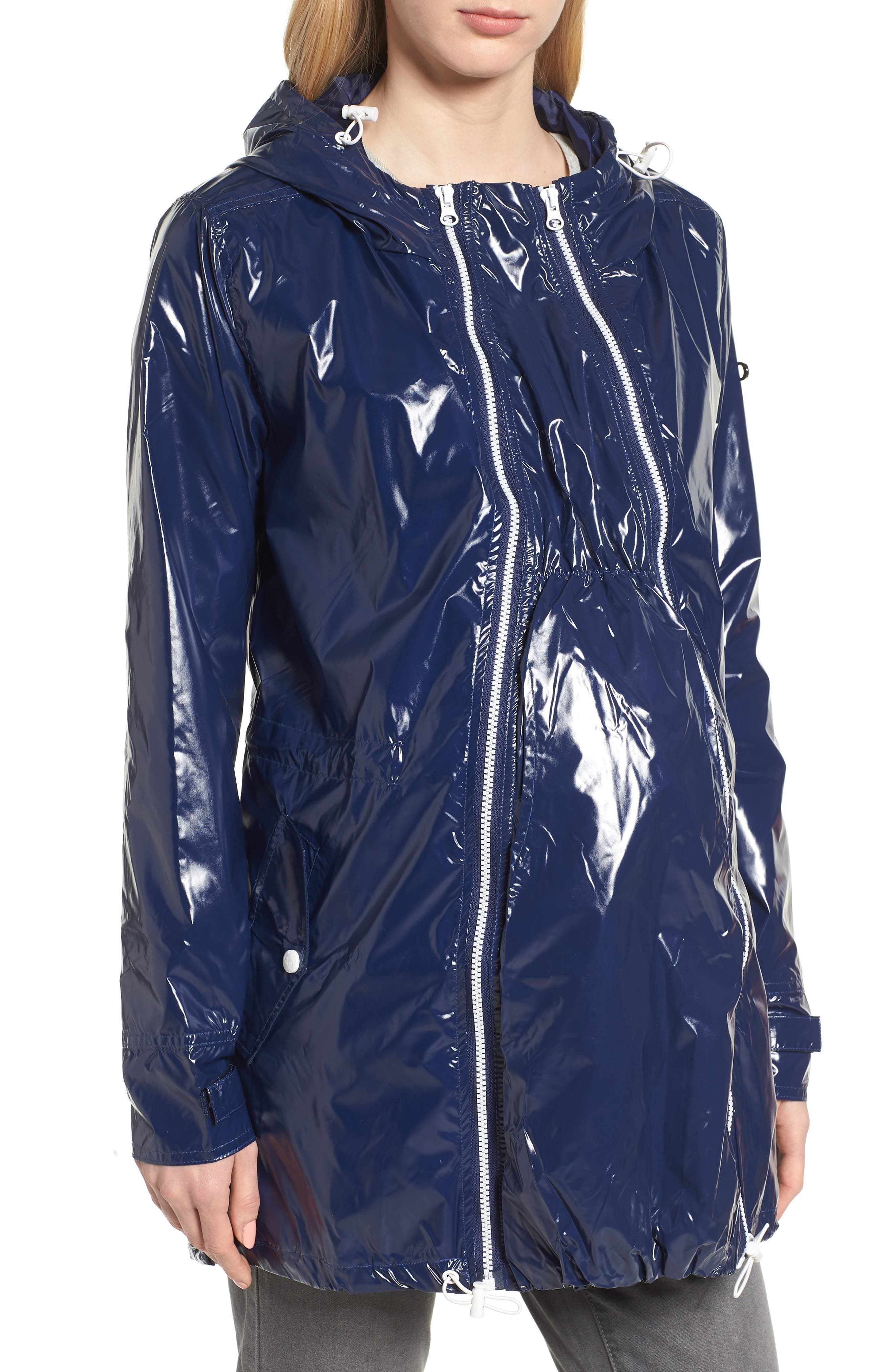 MODERN ETERNITY, Waterproof Convertible 3-in-1 Maternity Raincoat, Main thumbnail 1, color, BRIGHT NAVY
