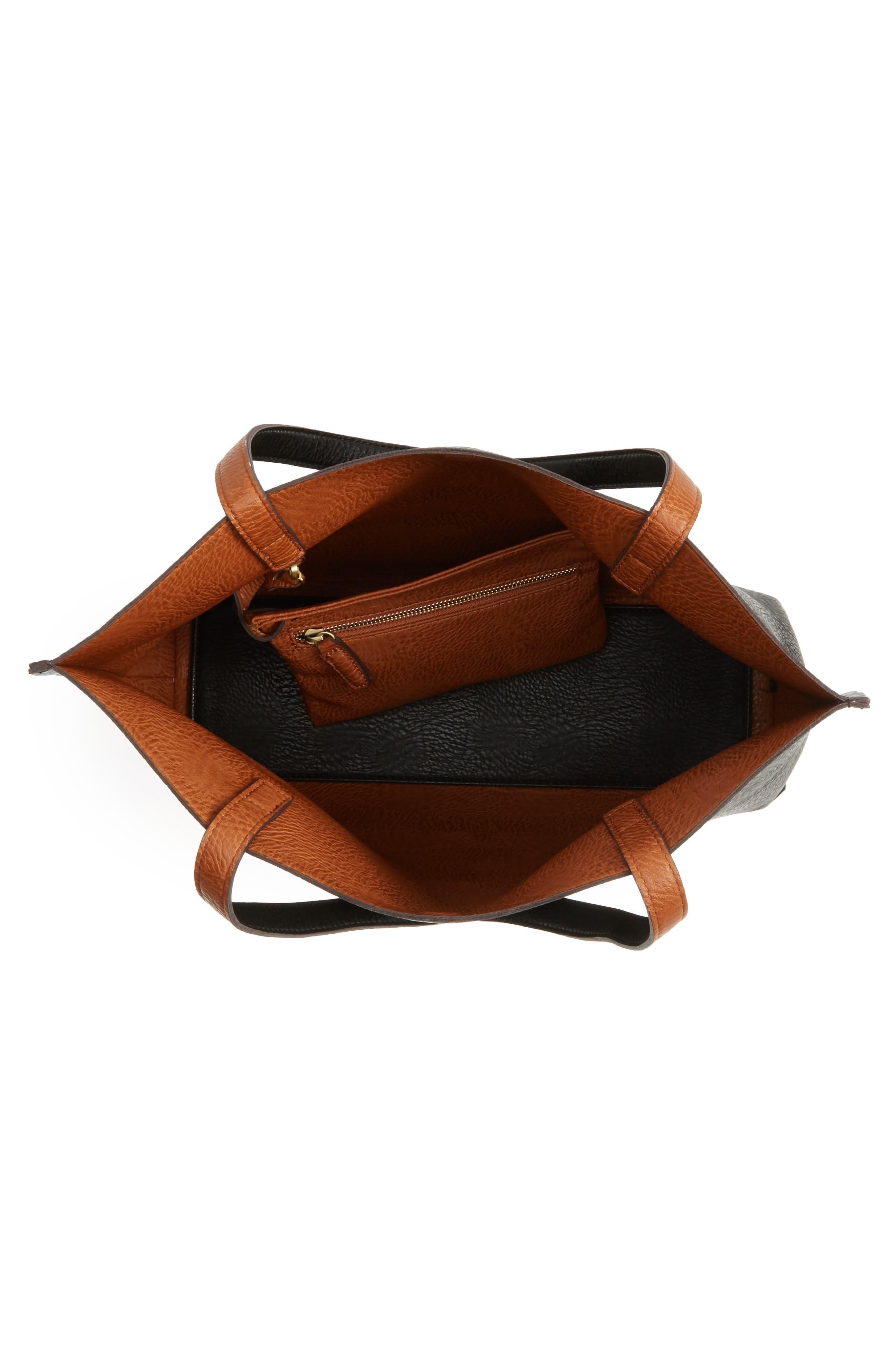 STREET LEVEL, Reversible Faux Leather Tote & Wristlet, Alternate thumbnail 5, color, BLACK/ COGNAC