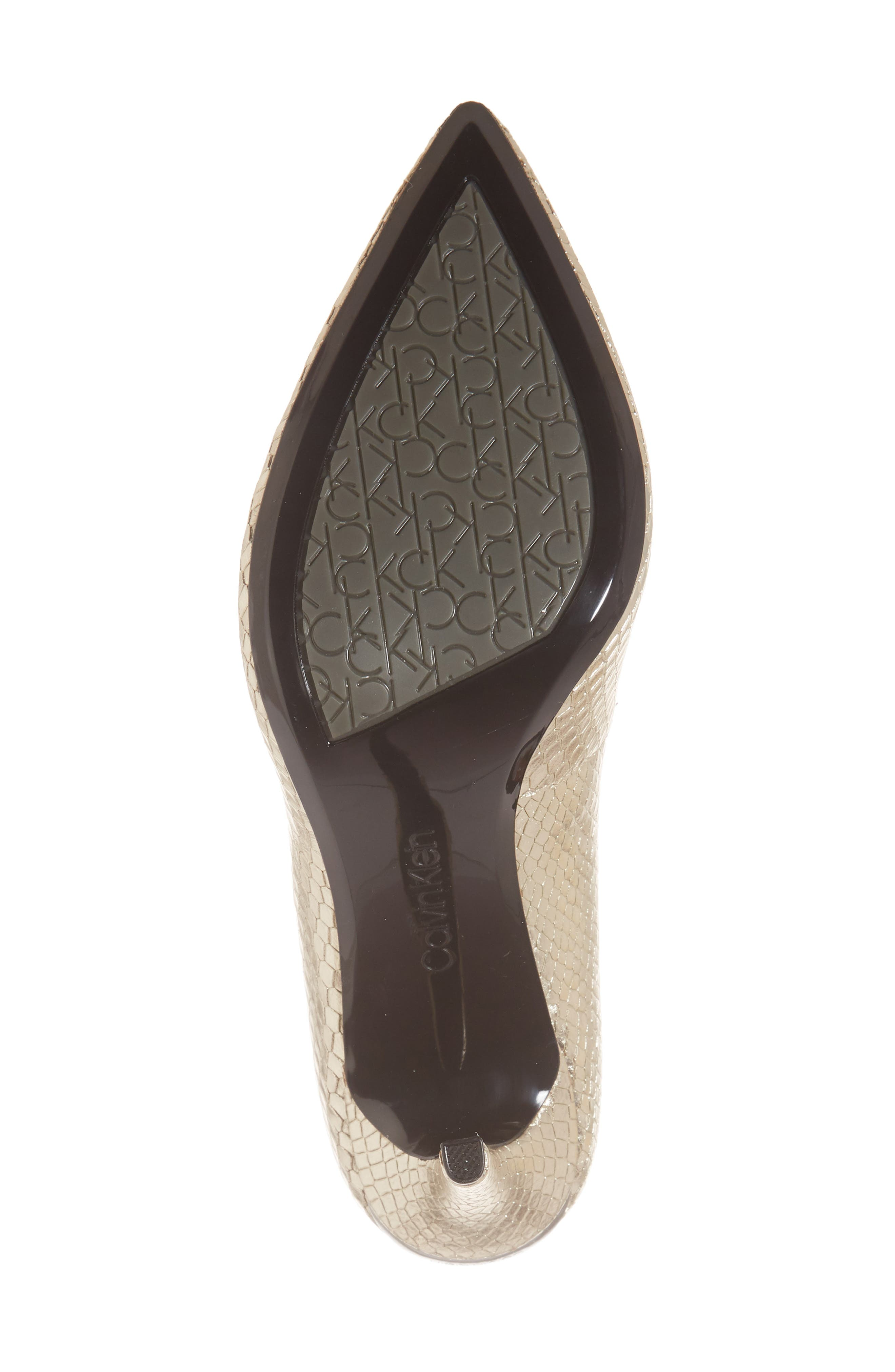 CALVIN KLEIN, 'Gayle' Pointy Toe Pump, Alternate thumbnail 6, color, SOFT GOLD LEATHER