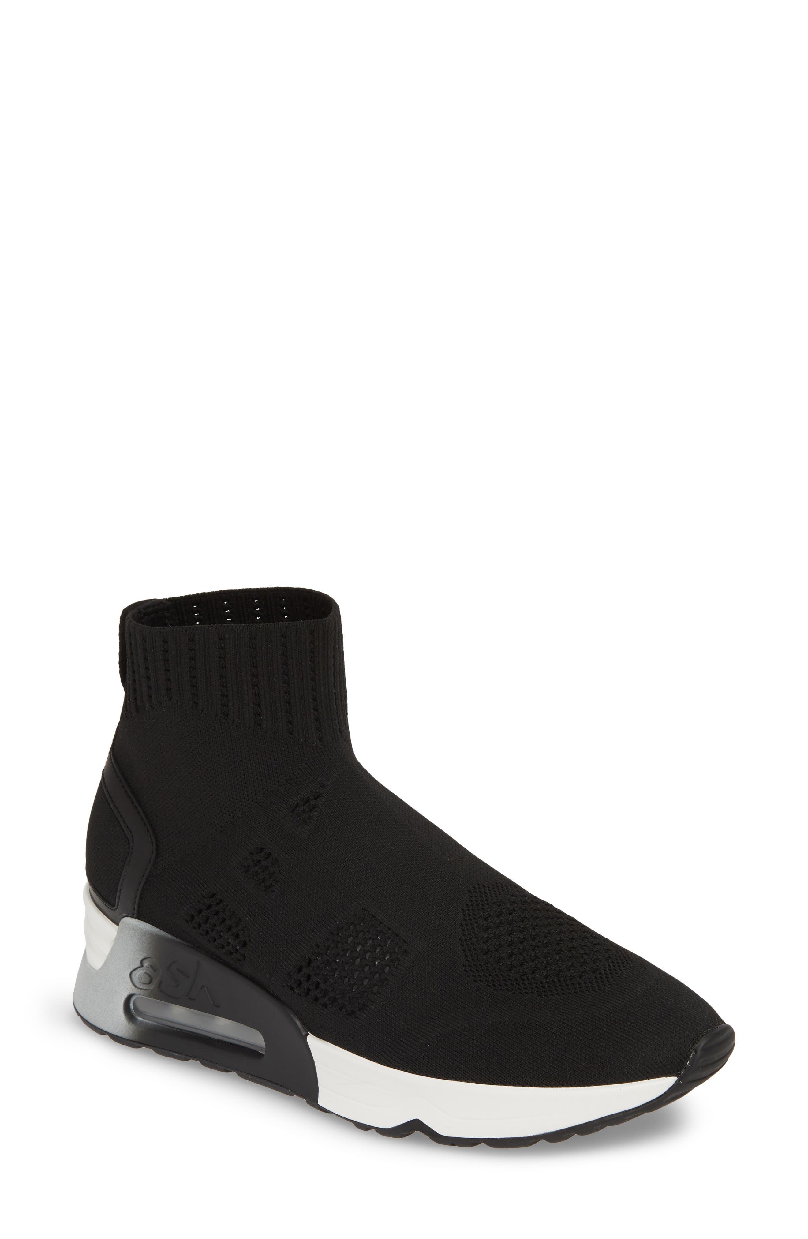 ASH, Knit Sneaker Bootie, Main thumbnail 1, color, BLACK