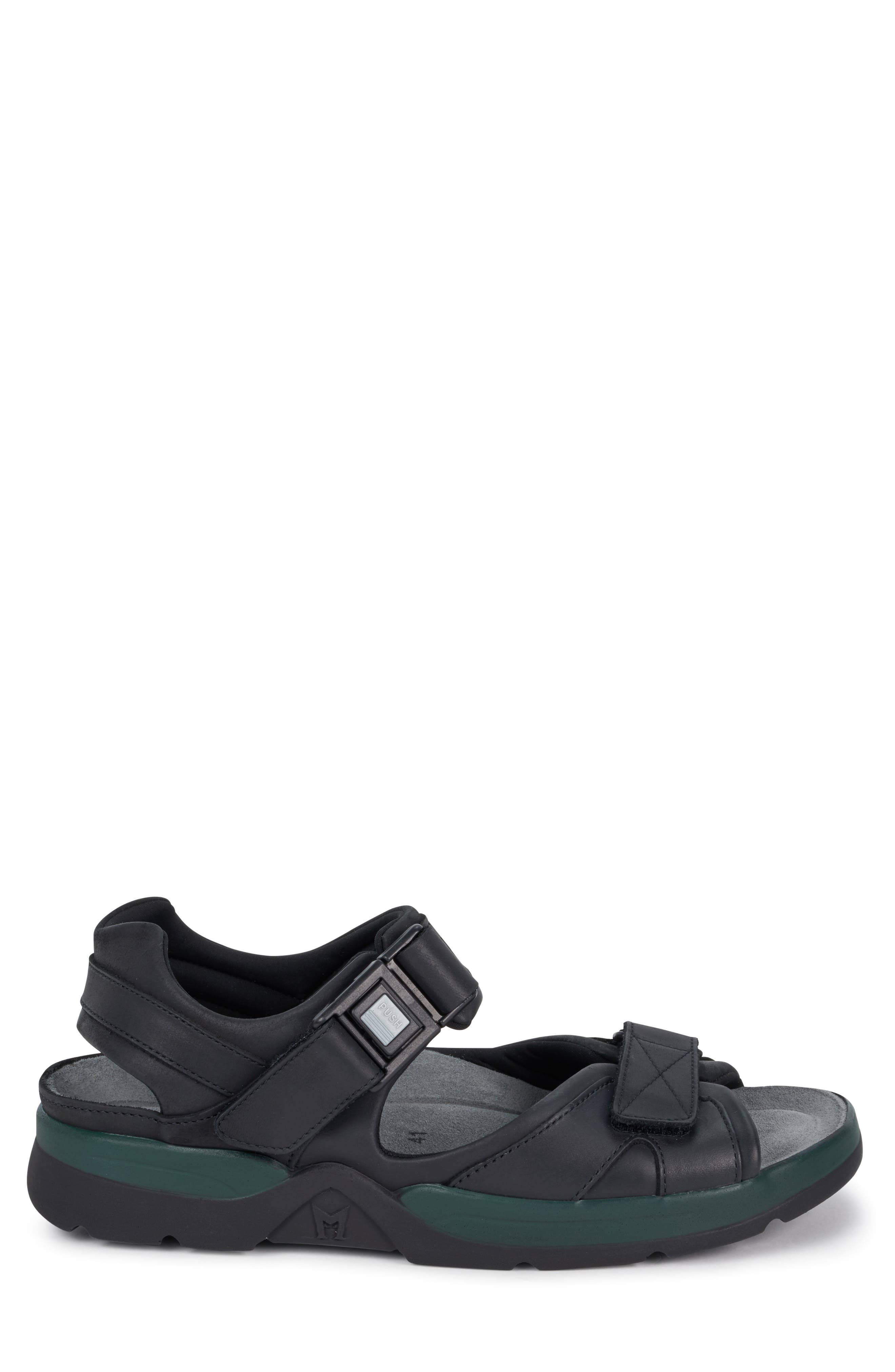 MEPHISTO, 'Shark' Sandal, Alternate thumbnail 3, color, BLACK WAXED LEATHER