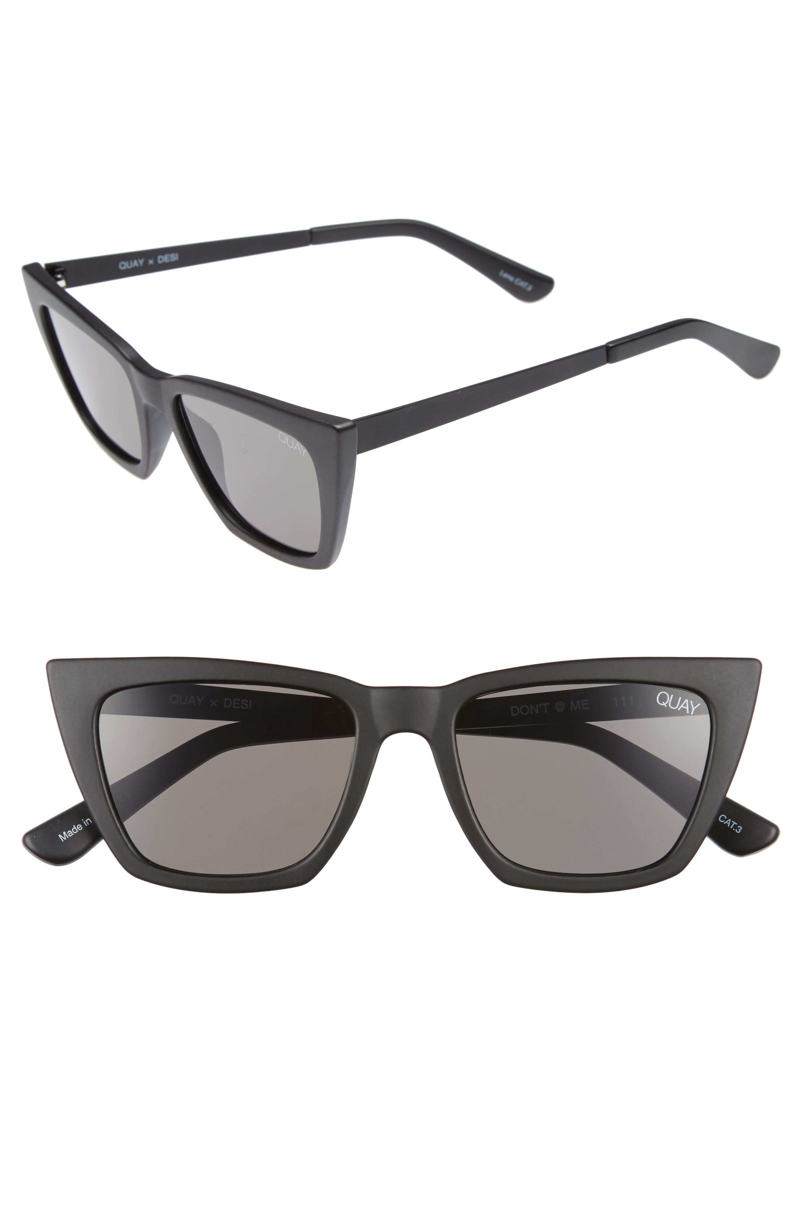 QUAY AUSTRALIA x Desi Perkins Don't @ Me 48mm Cat Eye Sunglasses, Main, color, BLACK/ SMOKE
