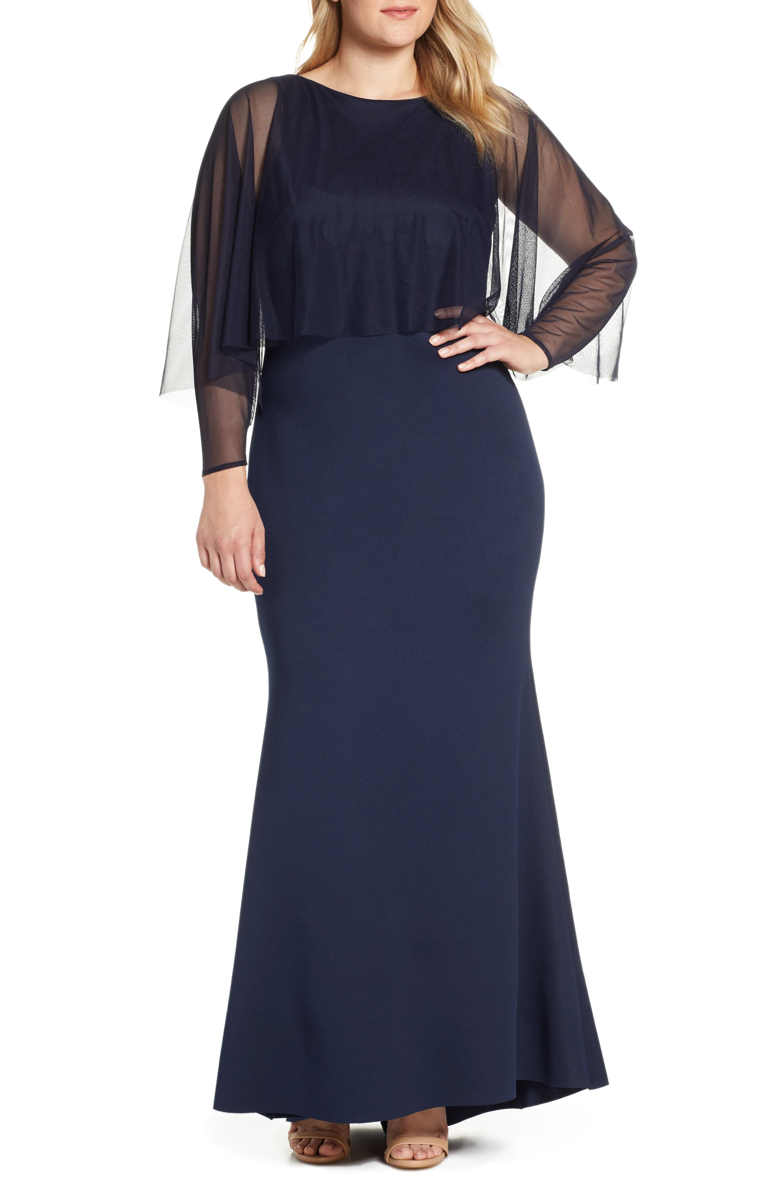 ELIZA J, Mesh Popover Sleeve Scuba Evening Dress, Alternate thumbnail 2, color, NAVY
