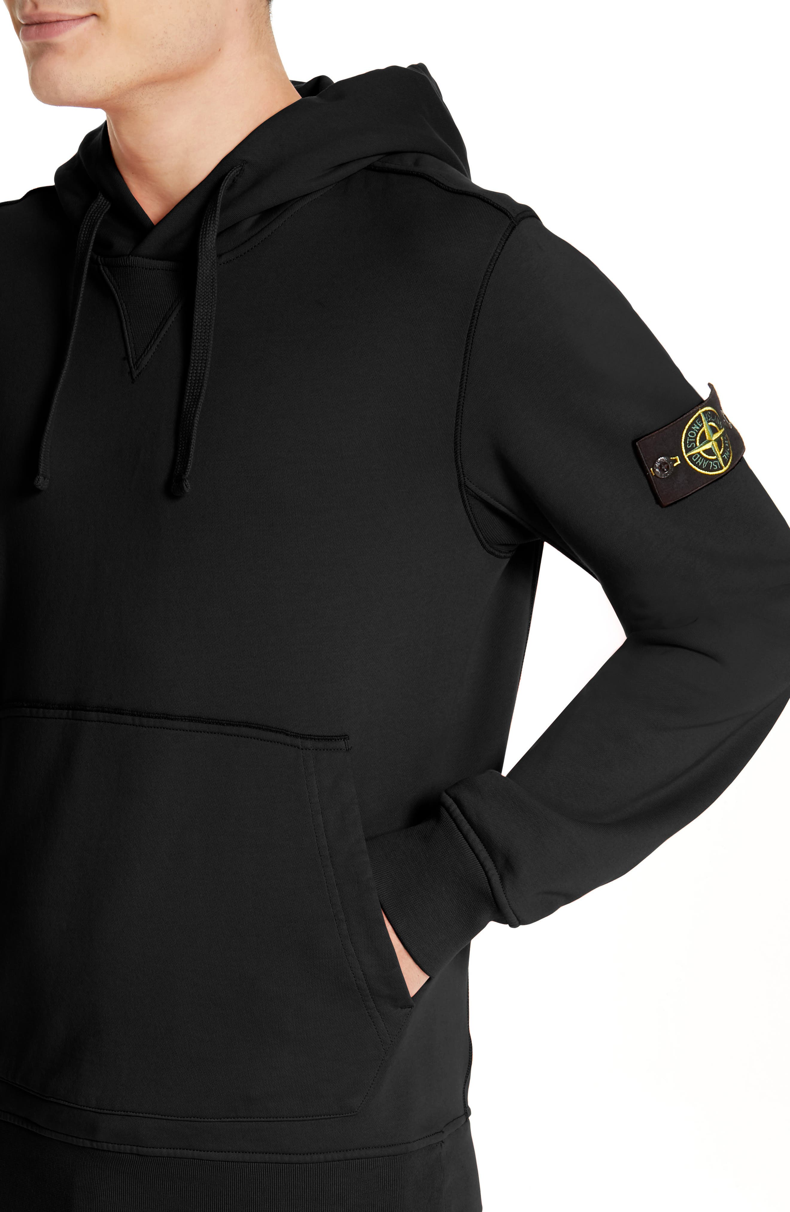 STONE ISLAND, Pullover Hoodie, Alternate thumbnail 4, color, BLACK