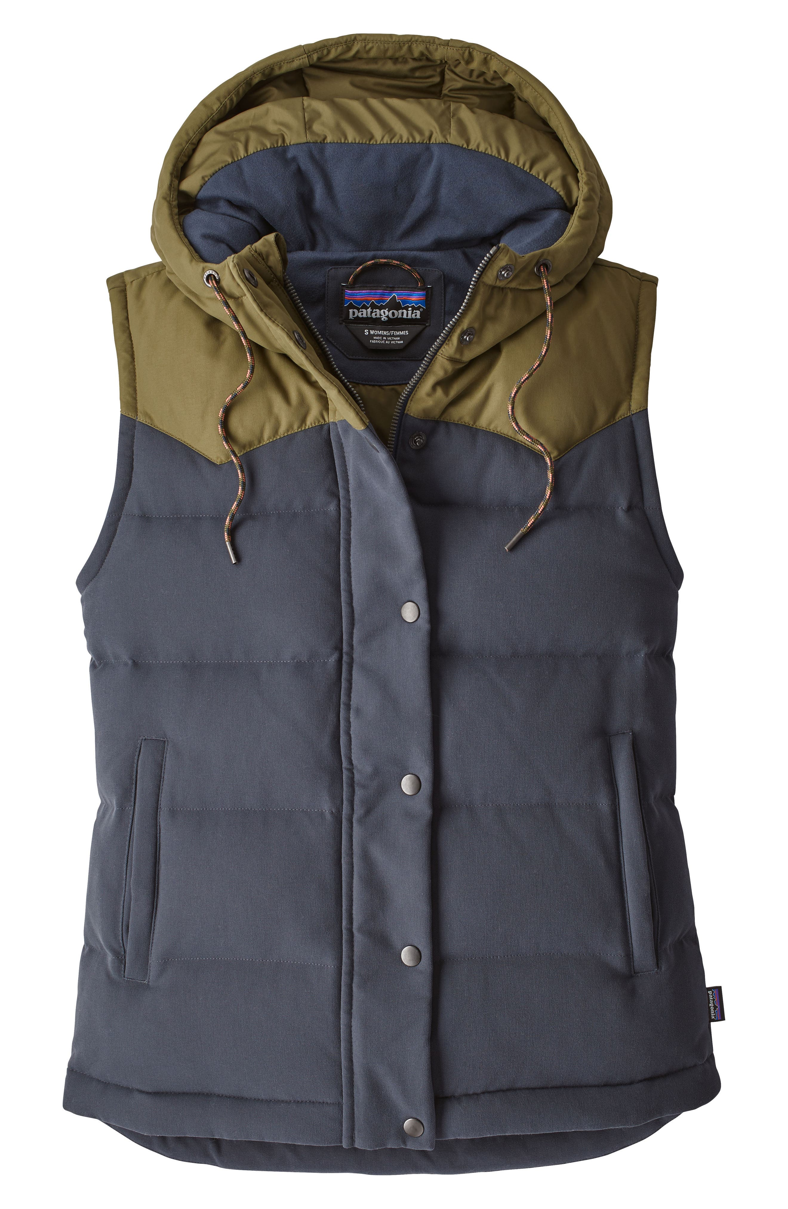 PATAGONIA, 'Bivy' Water Repellent 600 Fill Power Down Vest, Main thumbnail 1, color, SMOLDER BLUE W/ FATIGUE GREEN