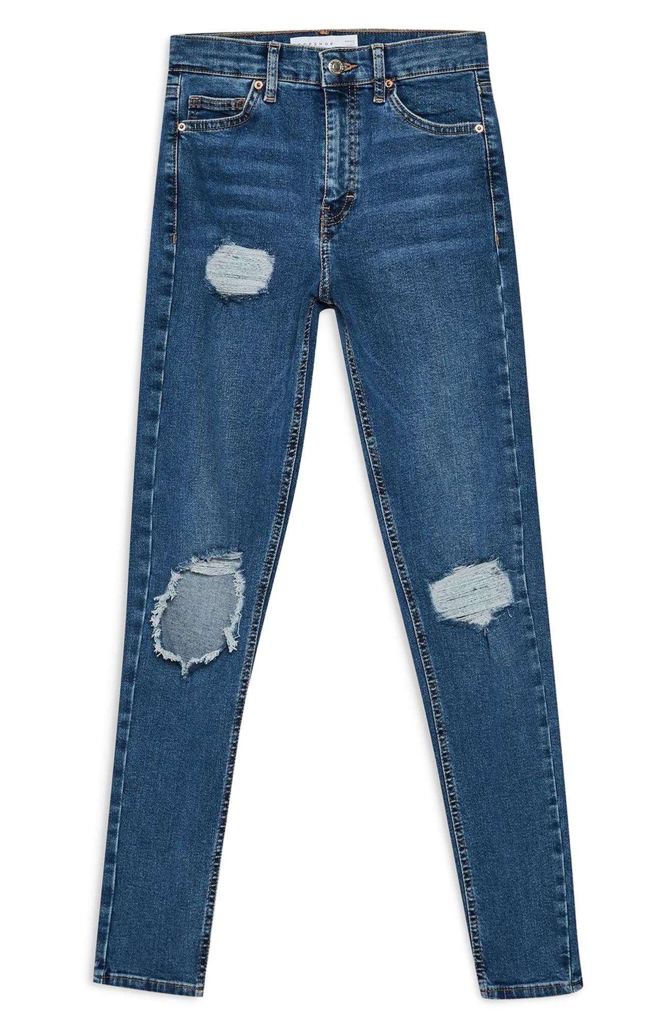 TOPSHOP, Jamie Ripped High Waist Skinny Jeans, Alternate thumbnail 3, color, MID DENIM