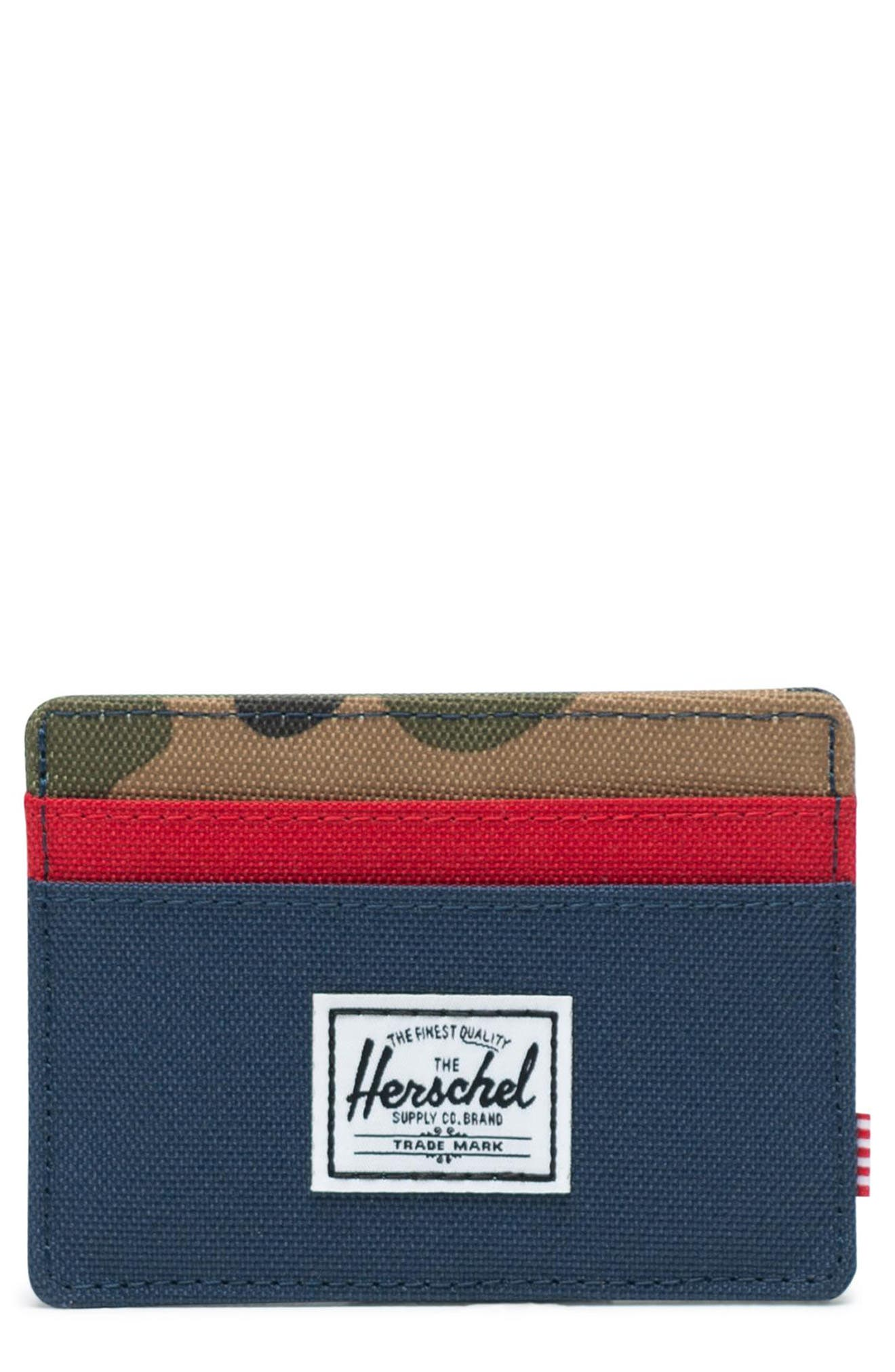 HERSCHEL SUPPLY CO. Charlie RFID Card Case, Main, color, NAVY/ RED/ CAMO