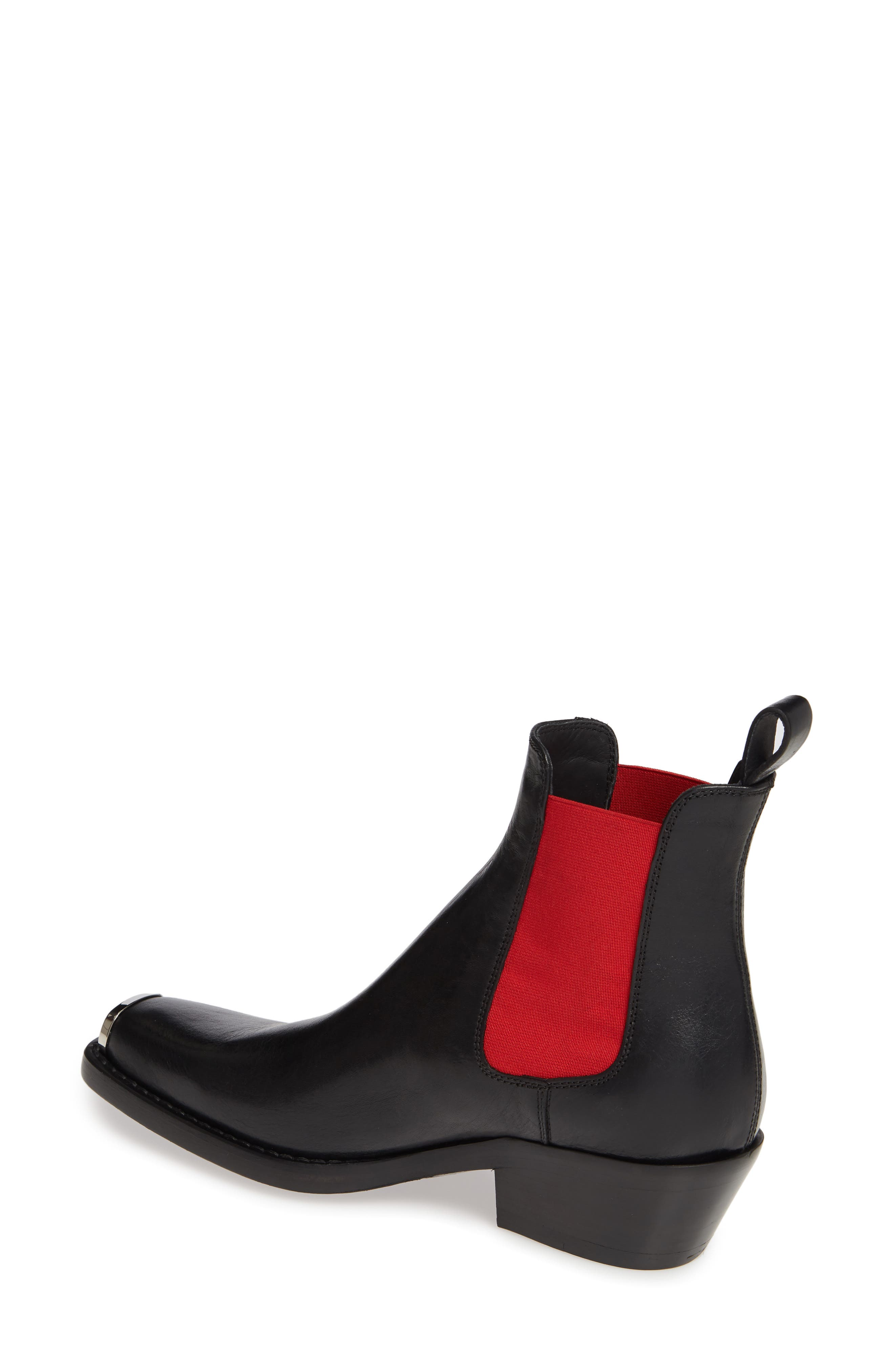 CALVIN KLEIN 205W39NYC, Claire Western Chelsea Boot, Alternate thumbnail 2, color, BLACK/ RED