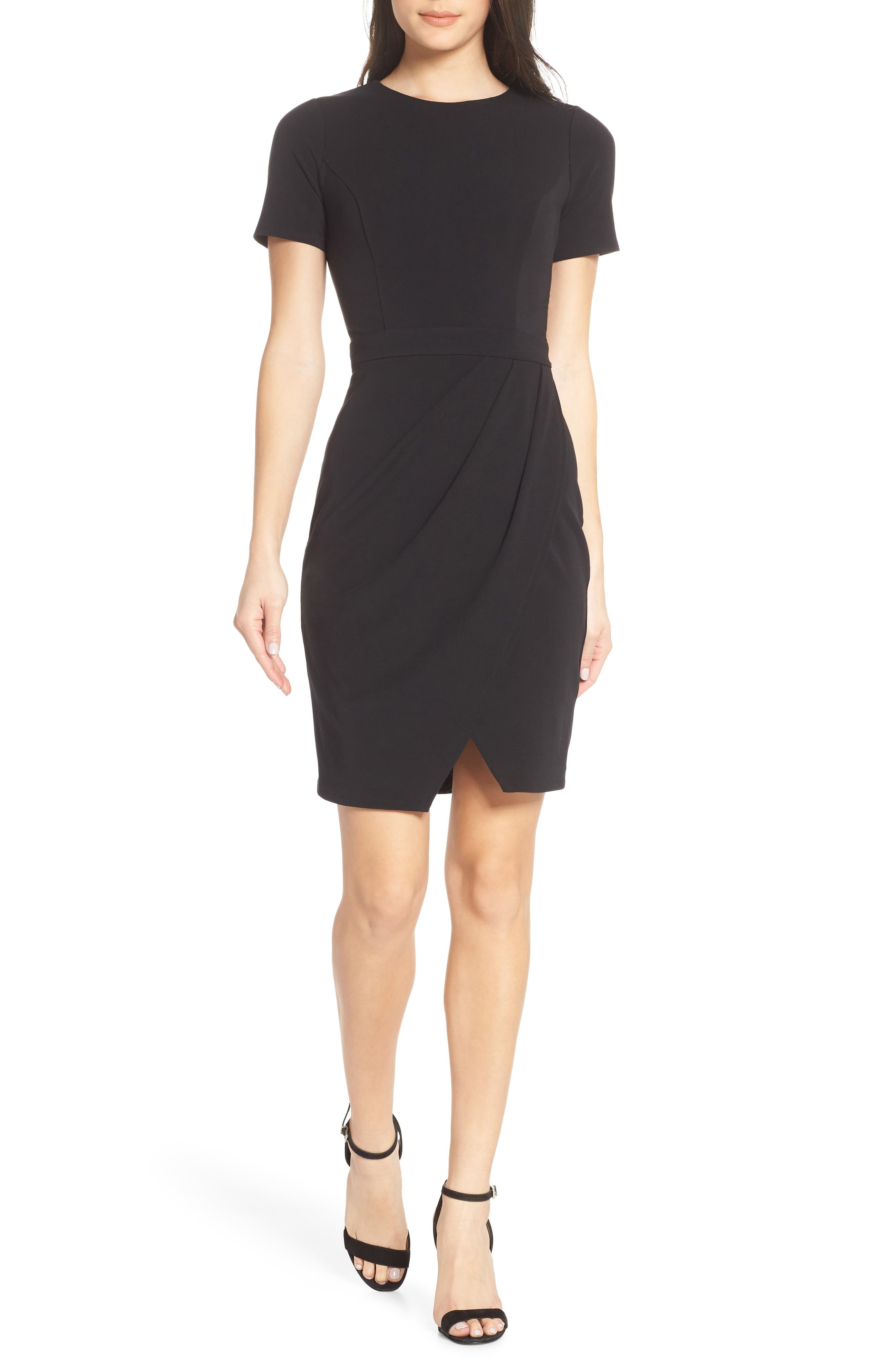 ALI & JAY, Pleated Jersey Dress, Main thumbnail 1, color, BLACK