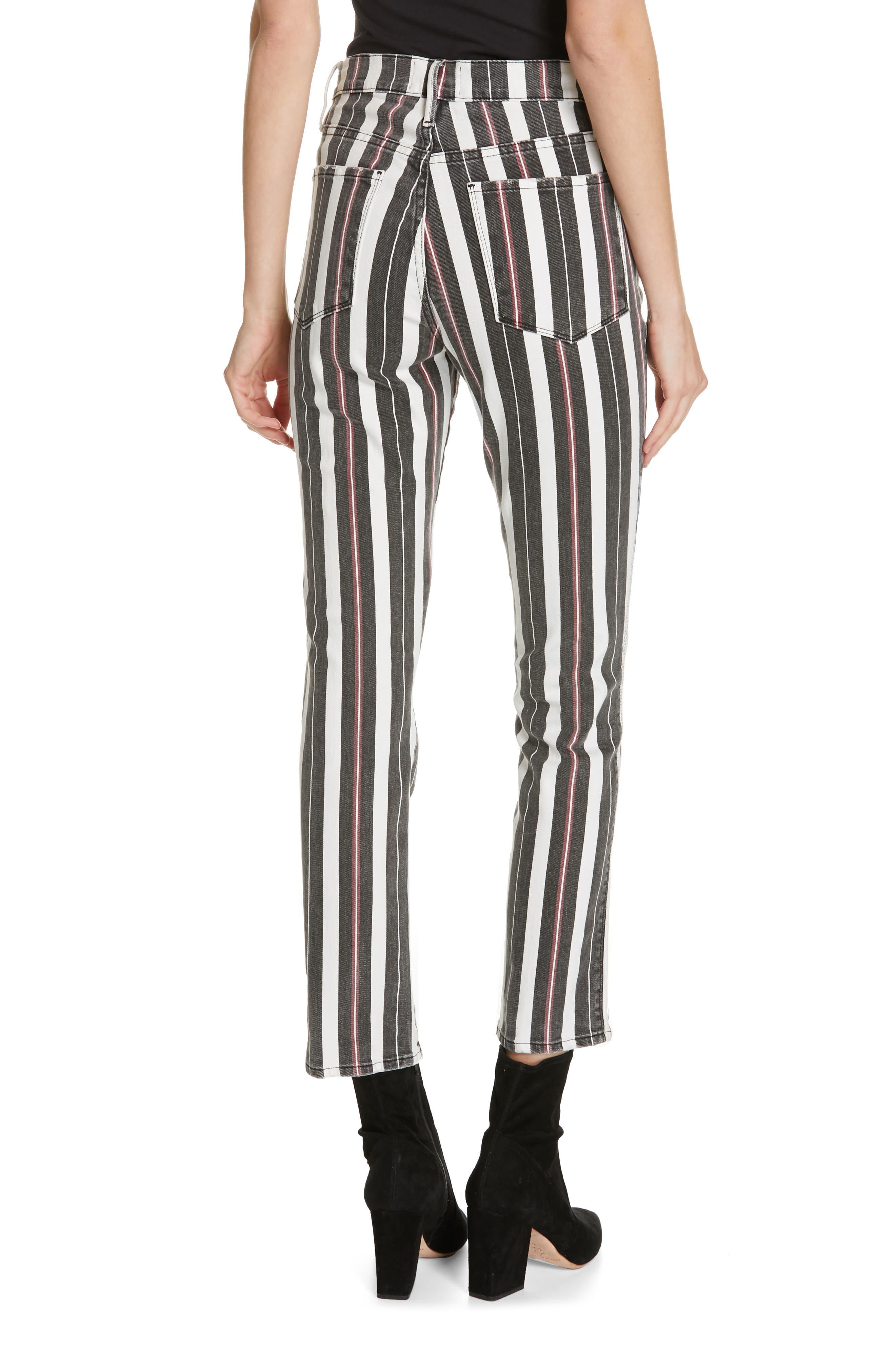 FRAME, Le Sylvie Band Stripe Straight Leg Jeans, Alternate thumbnail 2, color, BAND STRIPE