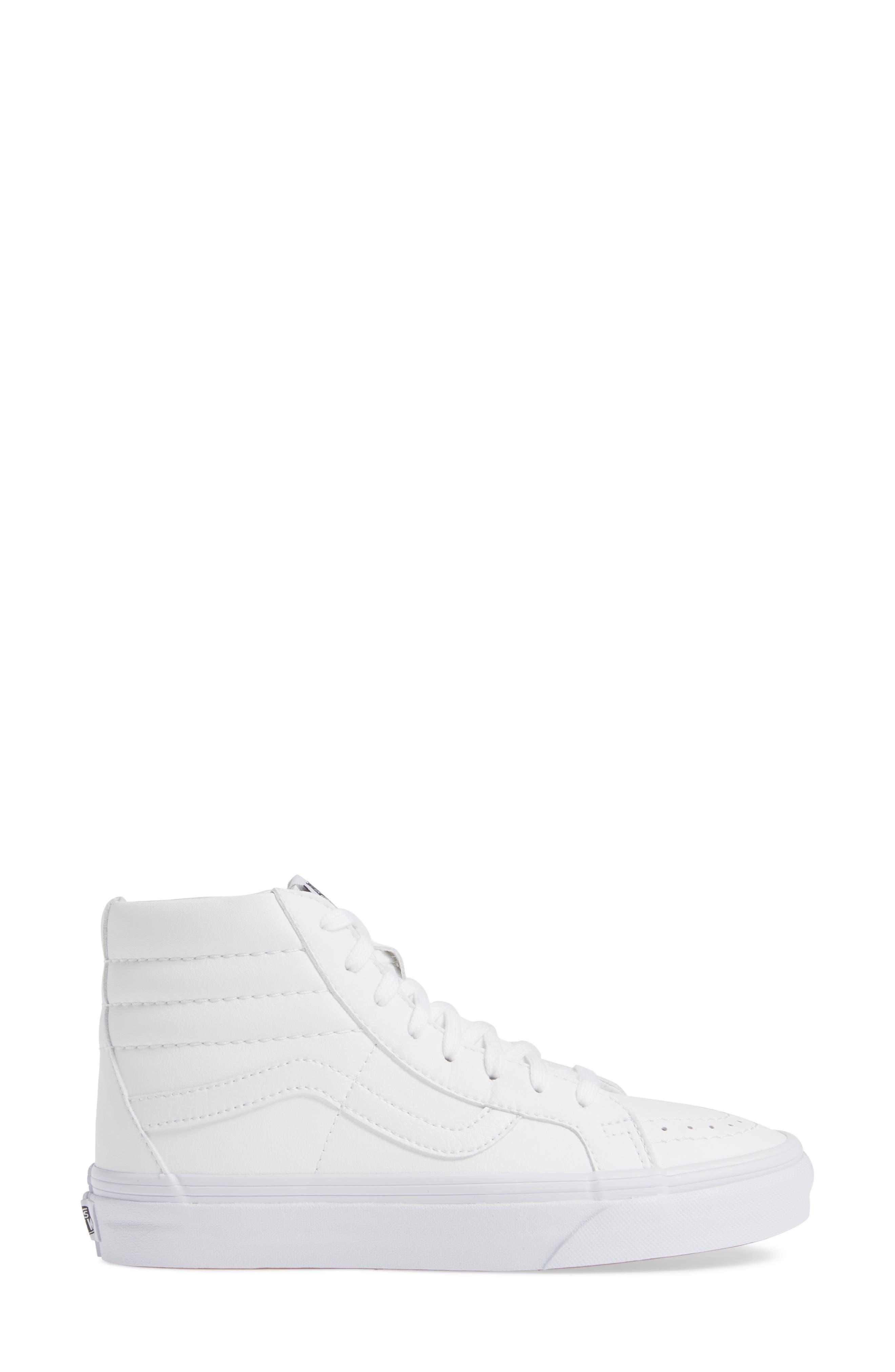 VANS, 'Sk8-Hi Reissue' Sneaker, Alternate thumbnail 3, color, TRUE WHITE