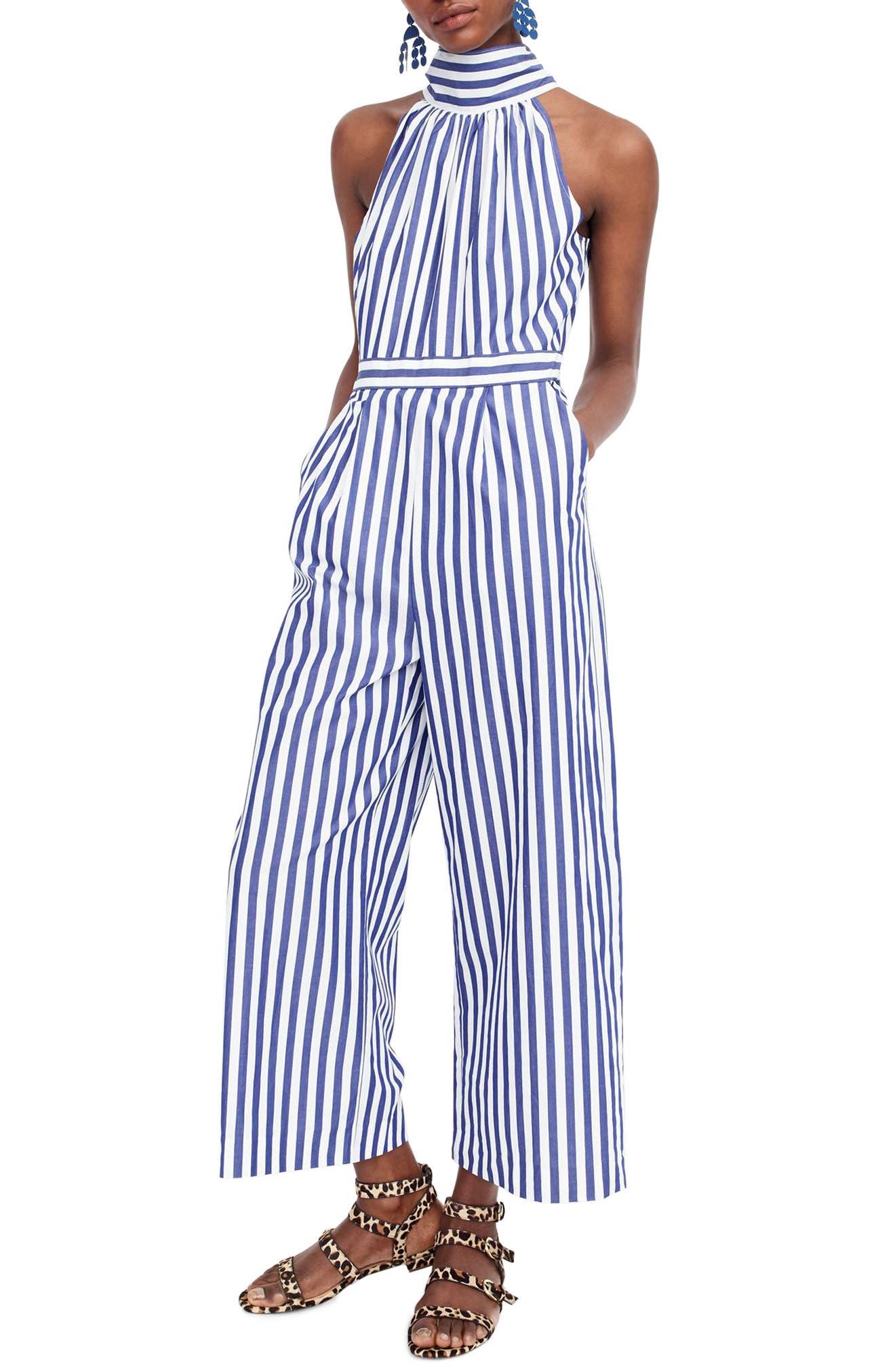 J.CREW, Stripe Halter Wide Leg Jumpsuit, Main thumbnail 1, color, TUSHAR STRIPE LIGHTHOUSE