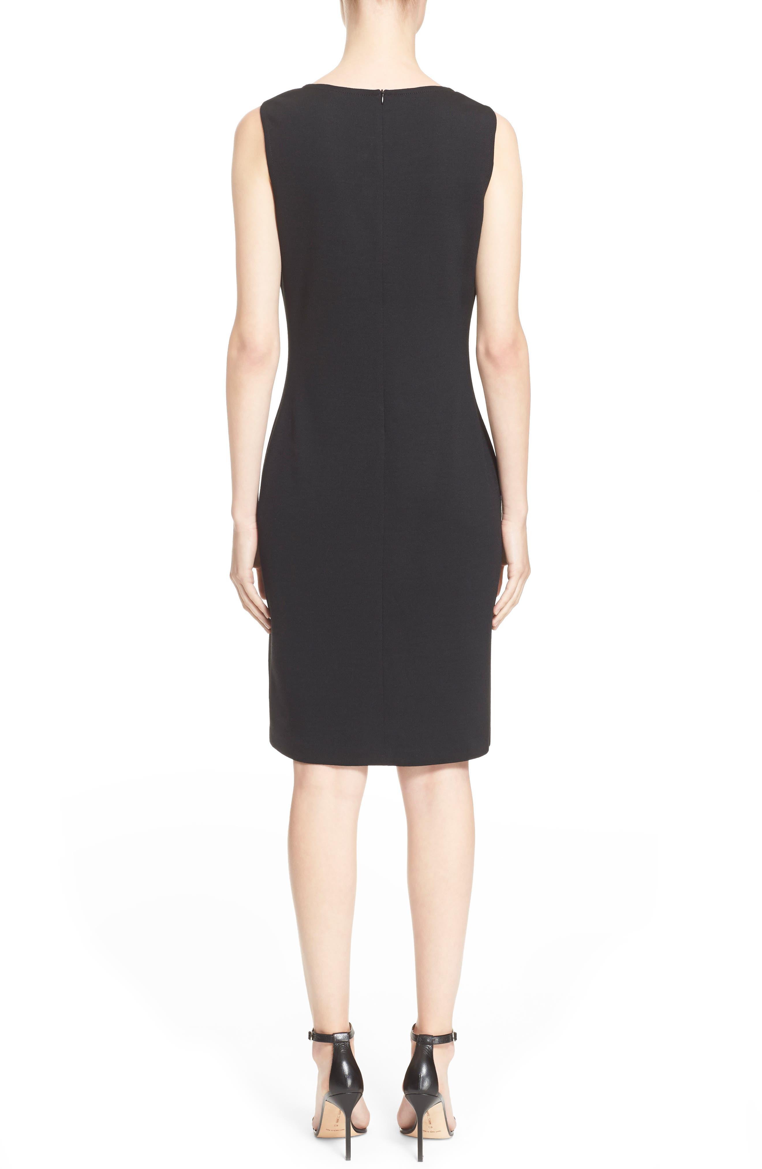 ST. JOHN COLLECTION, Milano Knit Sheath Dress, Alternate thumbnail 2, color, CAVIAR