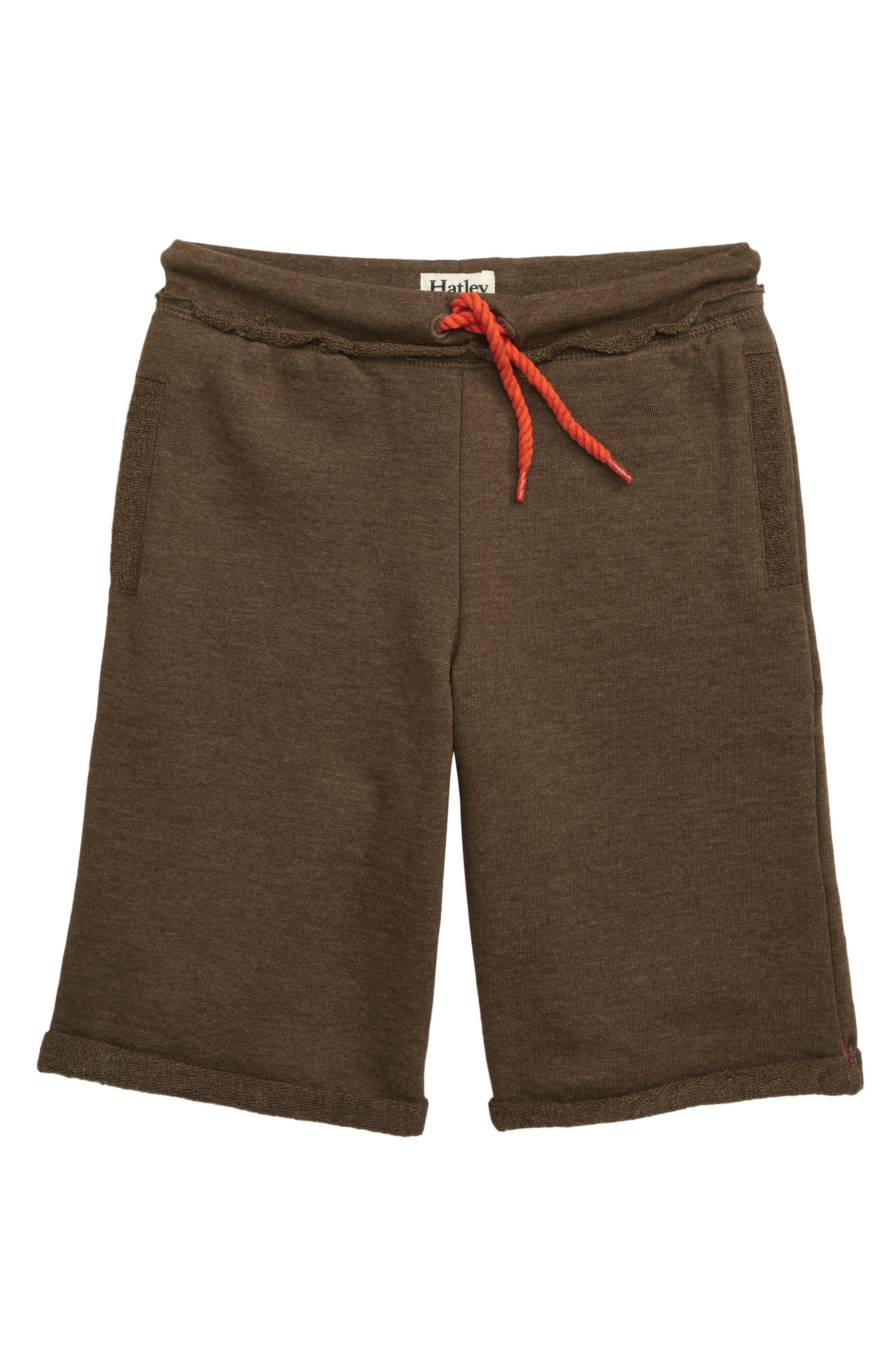 HATLEY, Bermuda Knit Shorts, Main thumbnail 1, color, BROWN