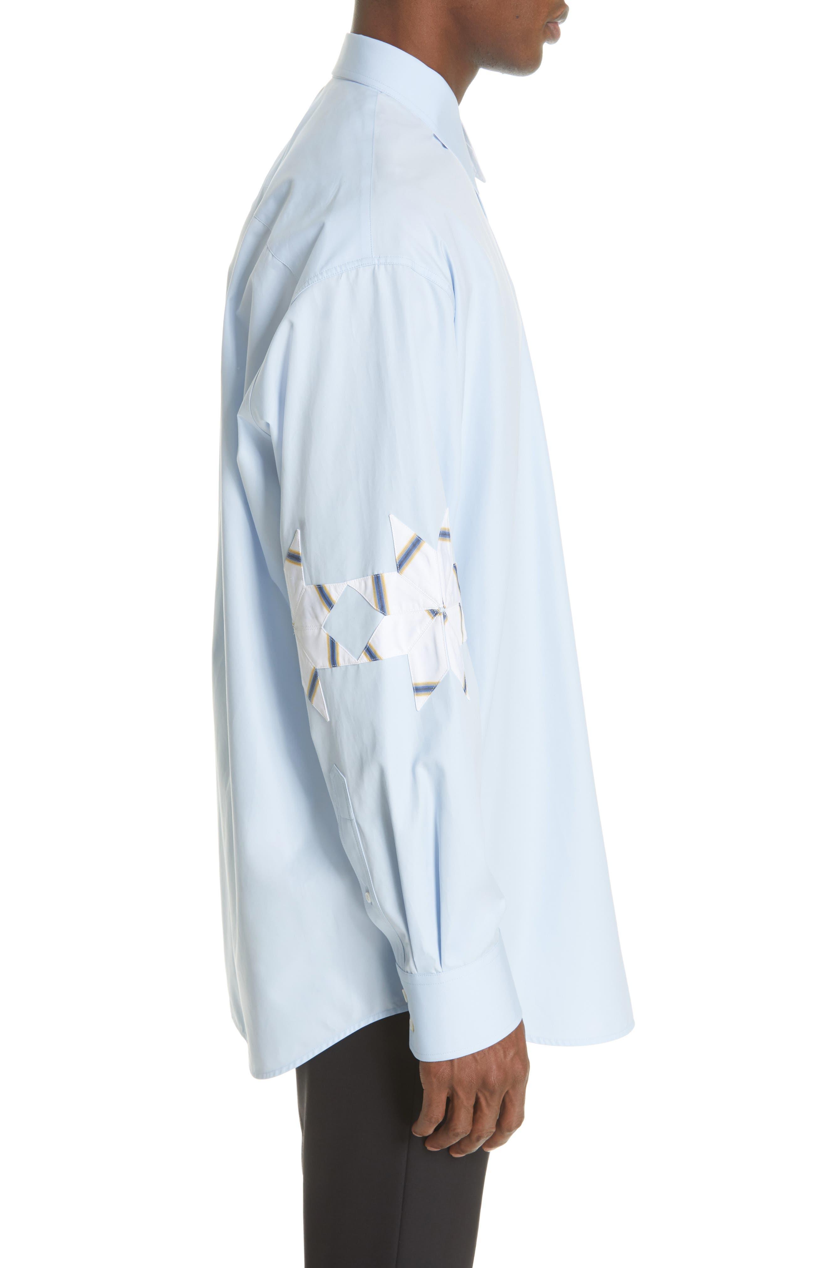 CALVIN KLEIN 205W39NYC, Pinwheel Sport Shirt, Alternate thumbnail 4, color, LIGHT SKY MARINE